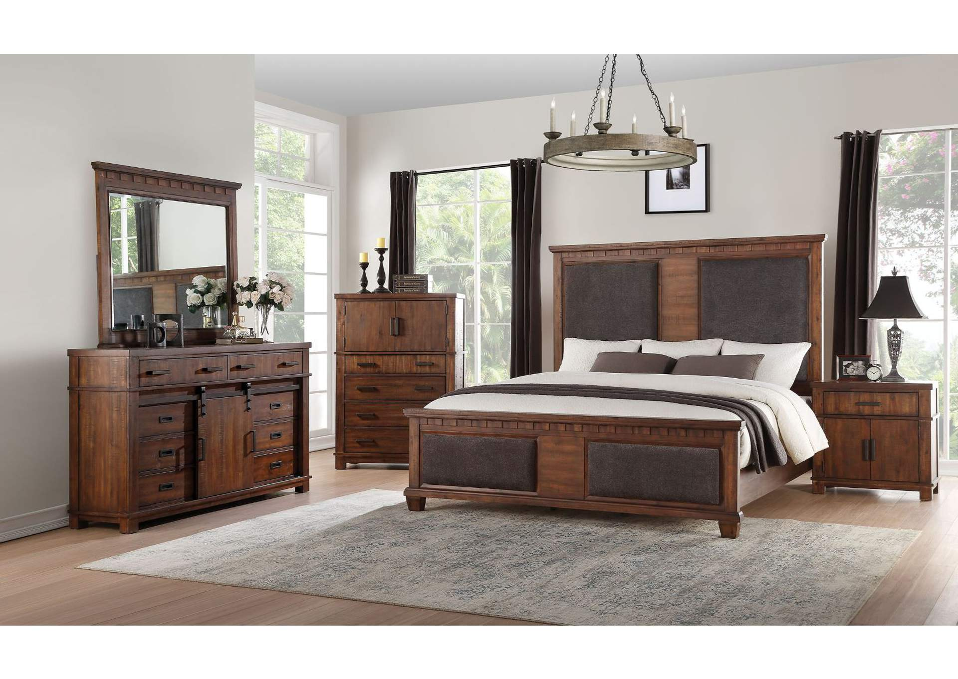 Vibia Brown Fabric & Cherry Oak Queen Bed,Acme