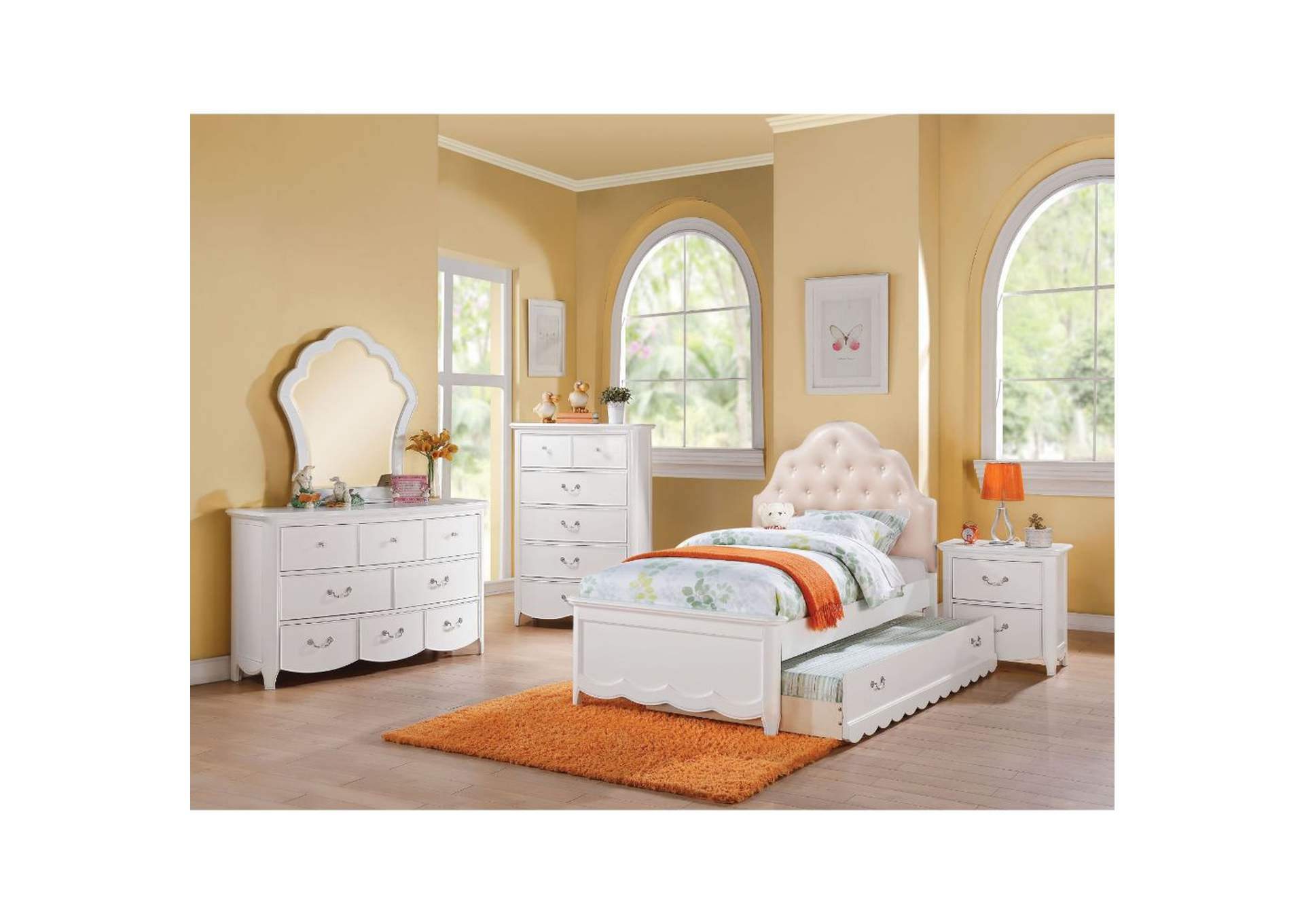 Cecilie Light Pink PU & White Twin Bed,Acme