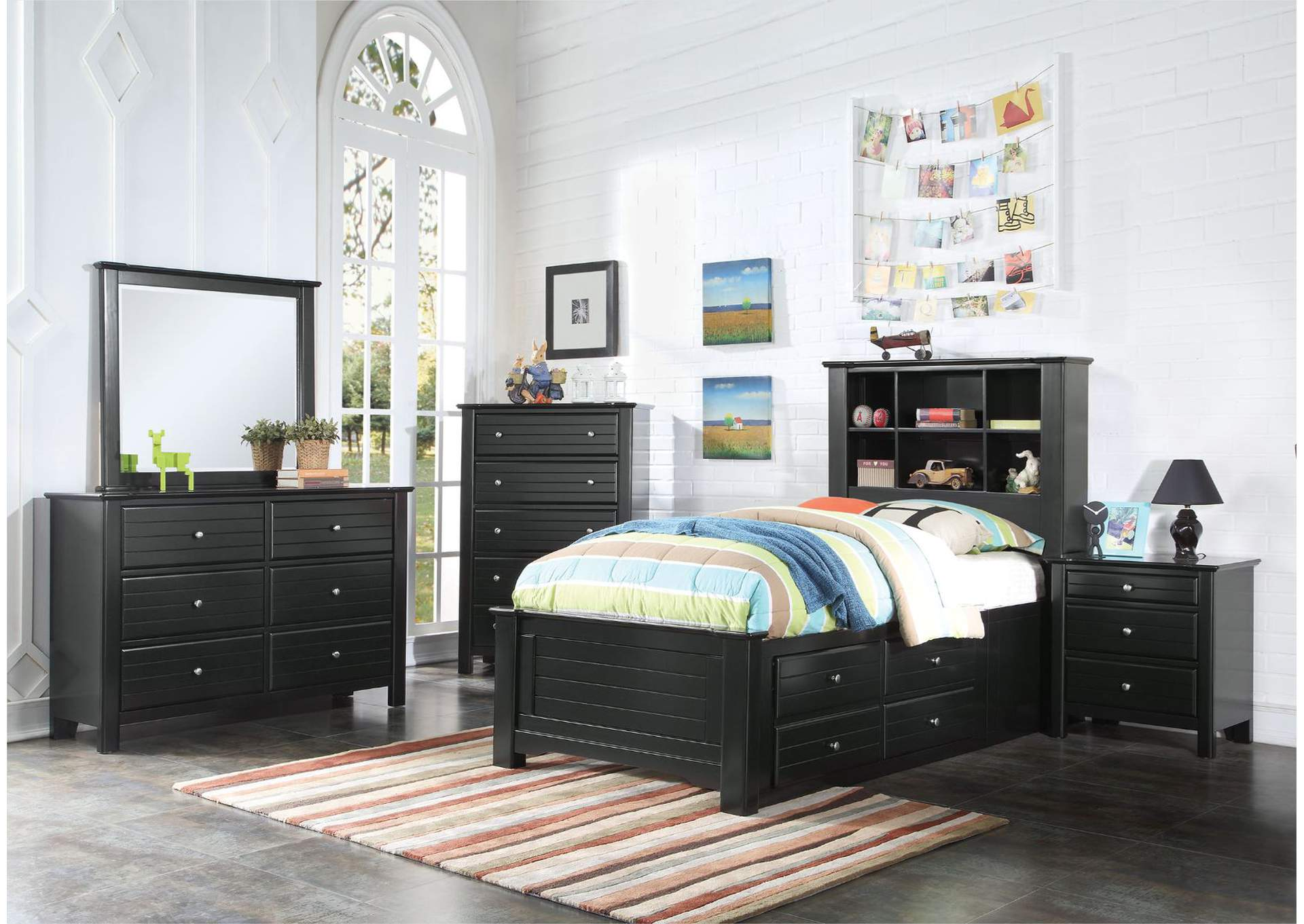 Mallowsea Black Twin Bed,Acme