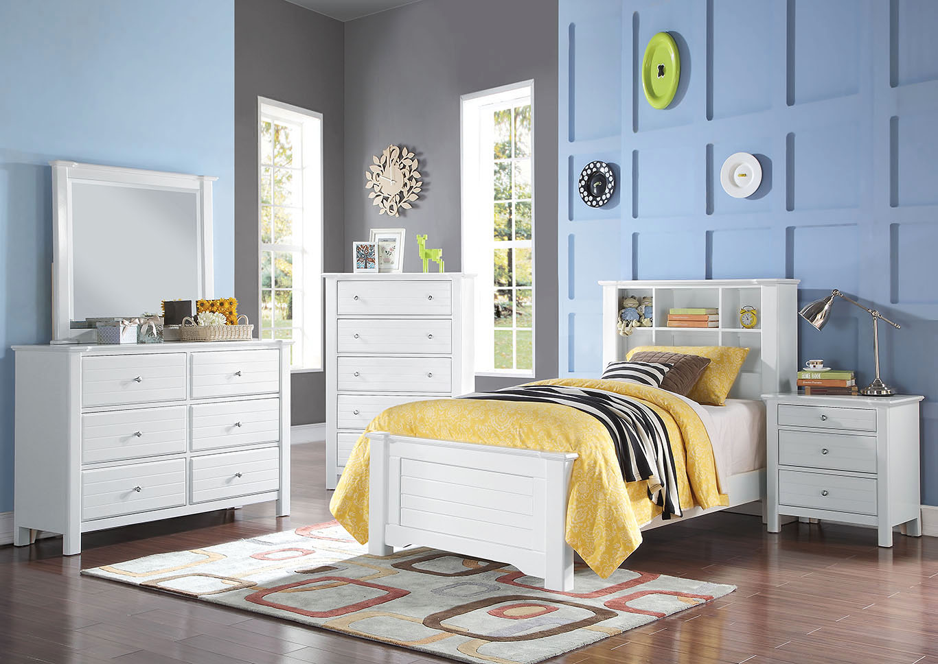 Mallowsea White Twin Bed w/Dresser and Mirror,Acme