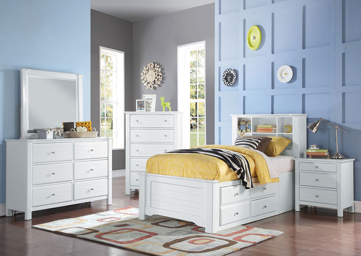 Mallowsea White Twin Storage Bed w/Dresser and Mirror,Acme