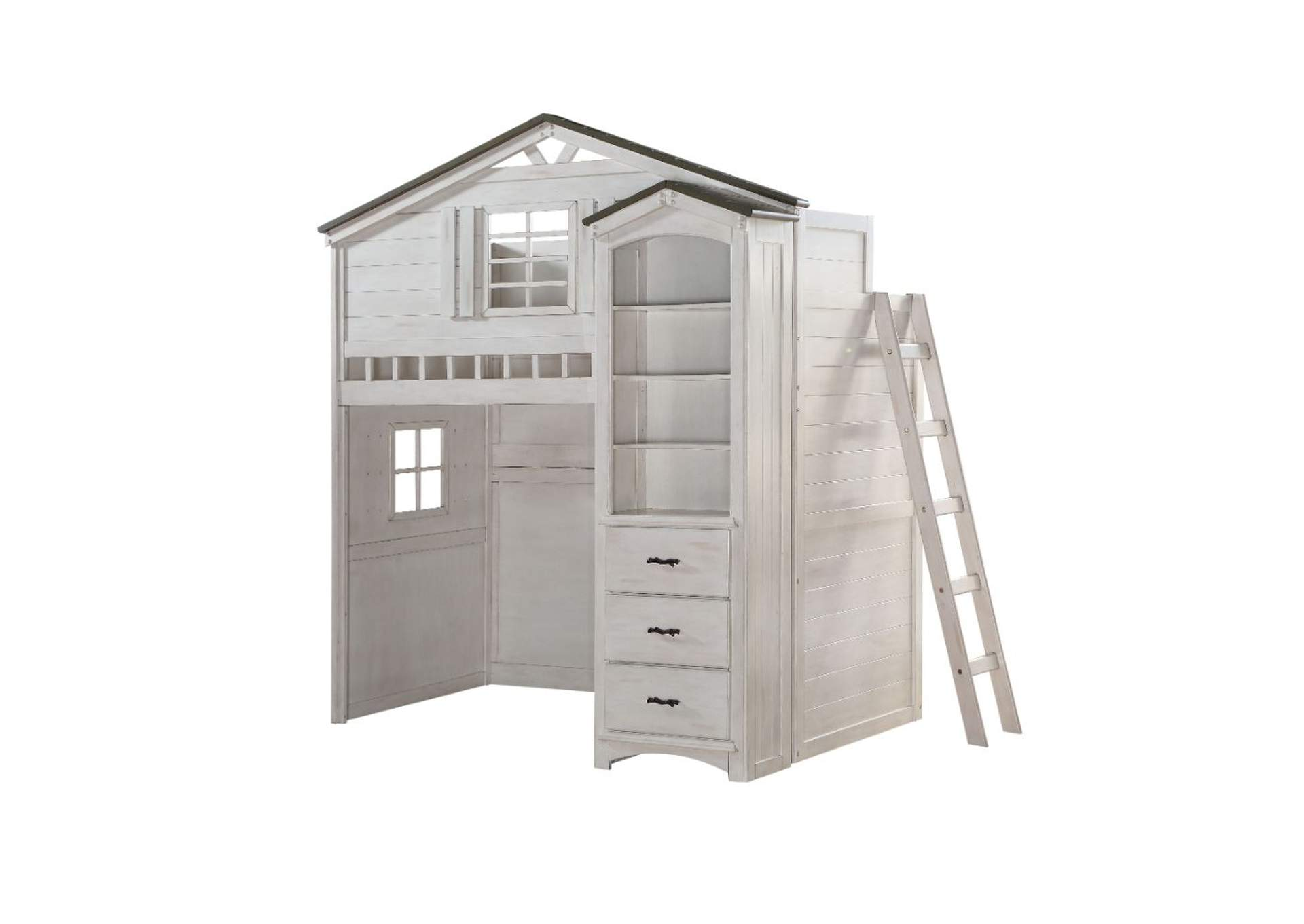 Tree House Weathered White & Washed Gray Loft Bed,Acme