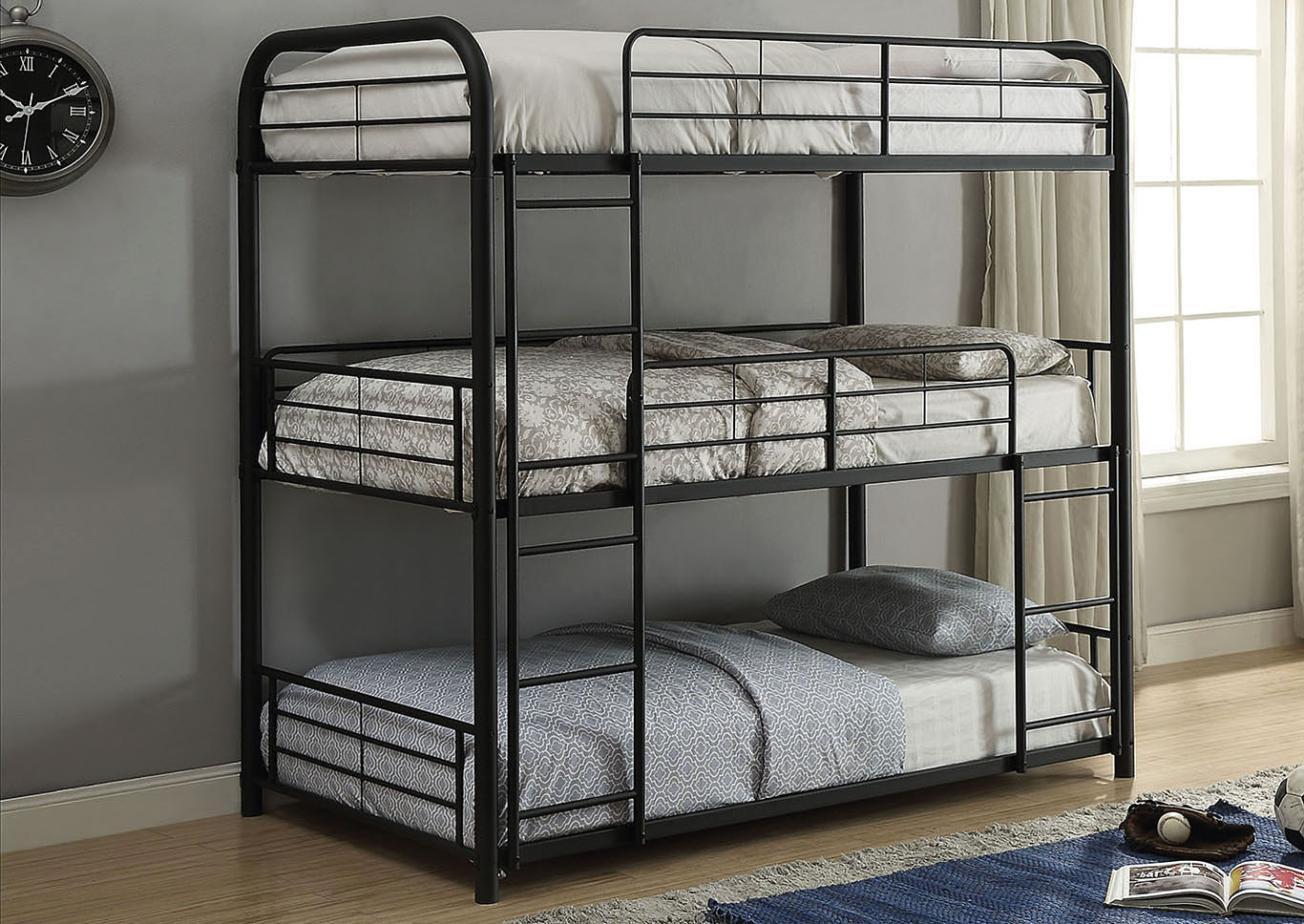 Cairo Sandy Black Bunk Bed - Triple Full,Acme