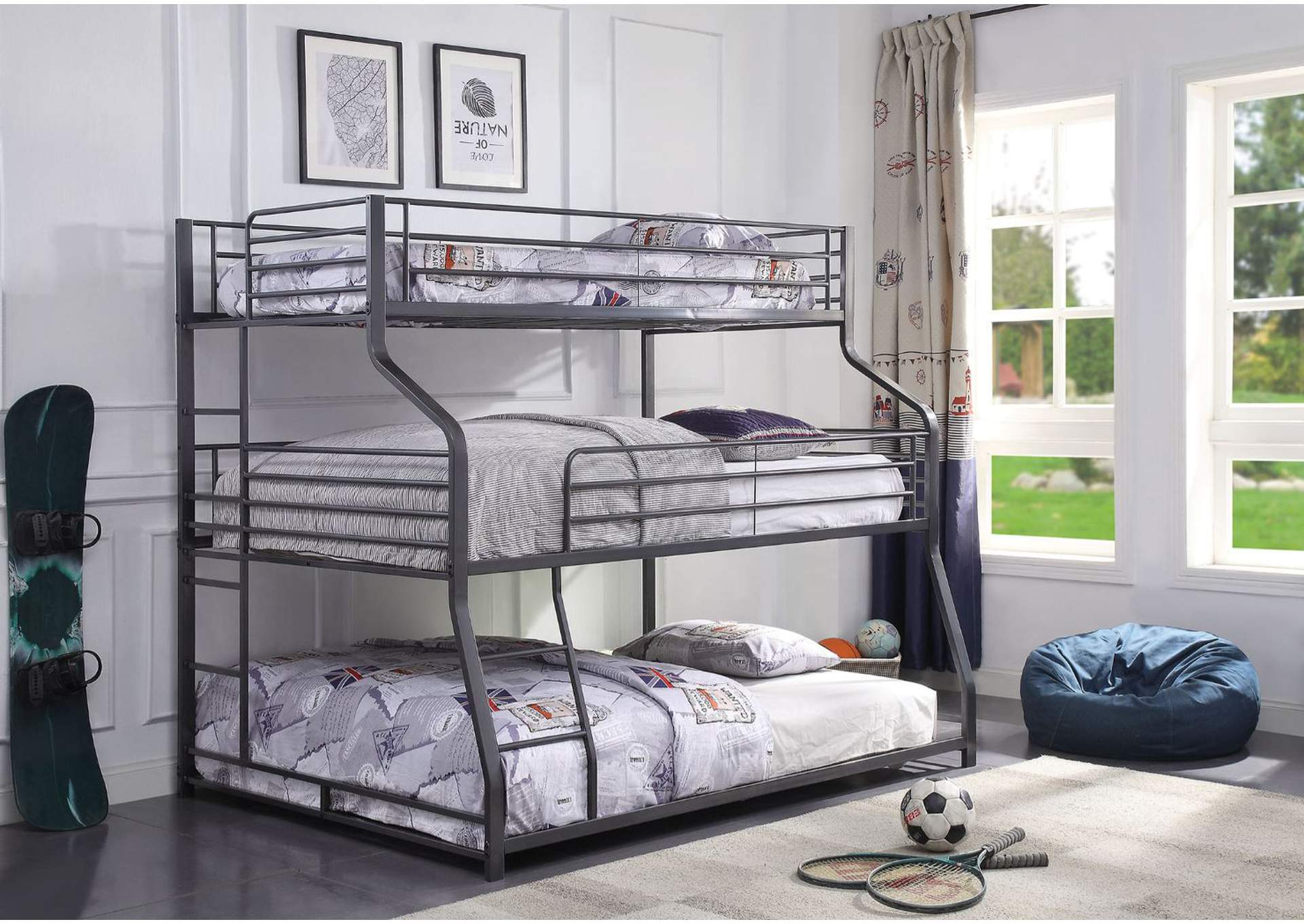 Picture of: Caius Ii Gunmetal Bunk Bed Triple Twin Full Queen Luxury Home Furniture
