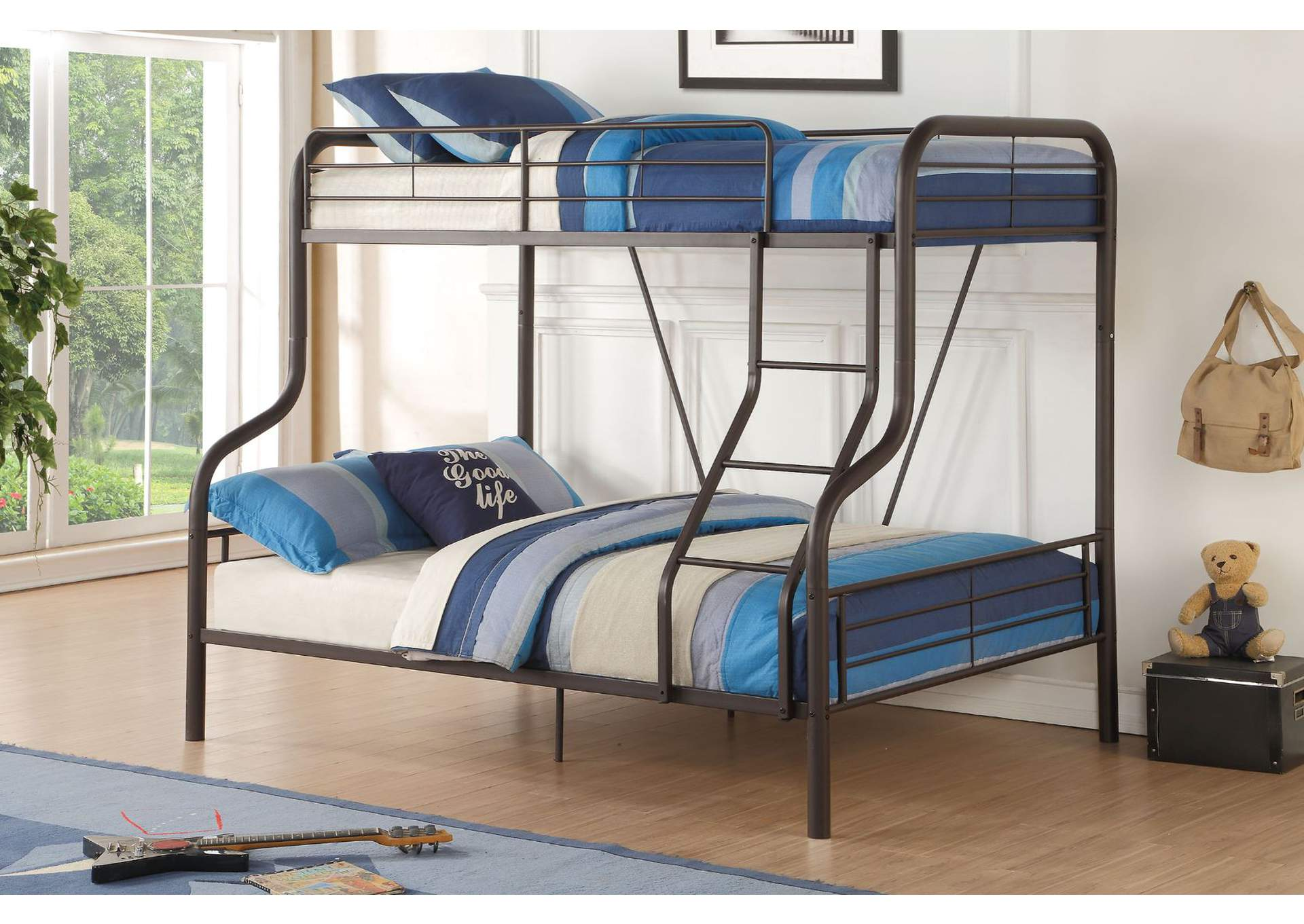 Sandy Black Cairo Twin Full Bunk Bed King S Furniture Warehouse