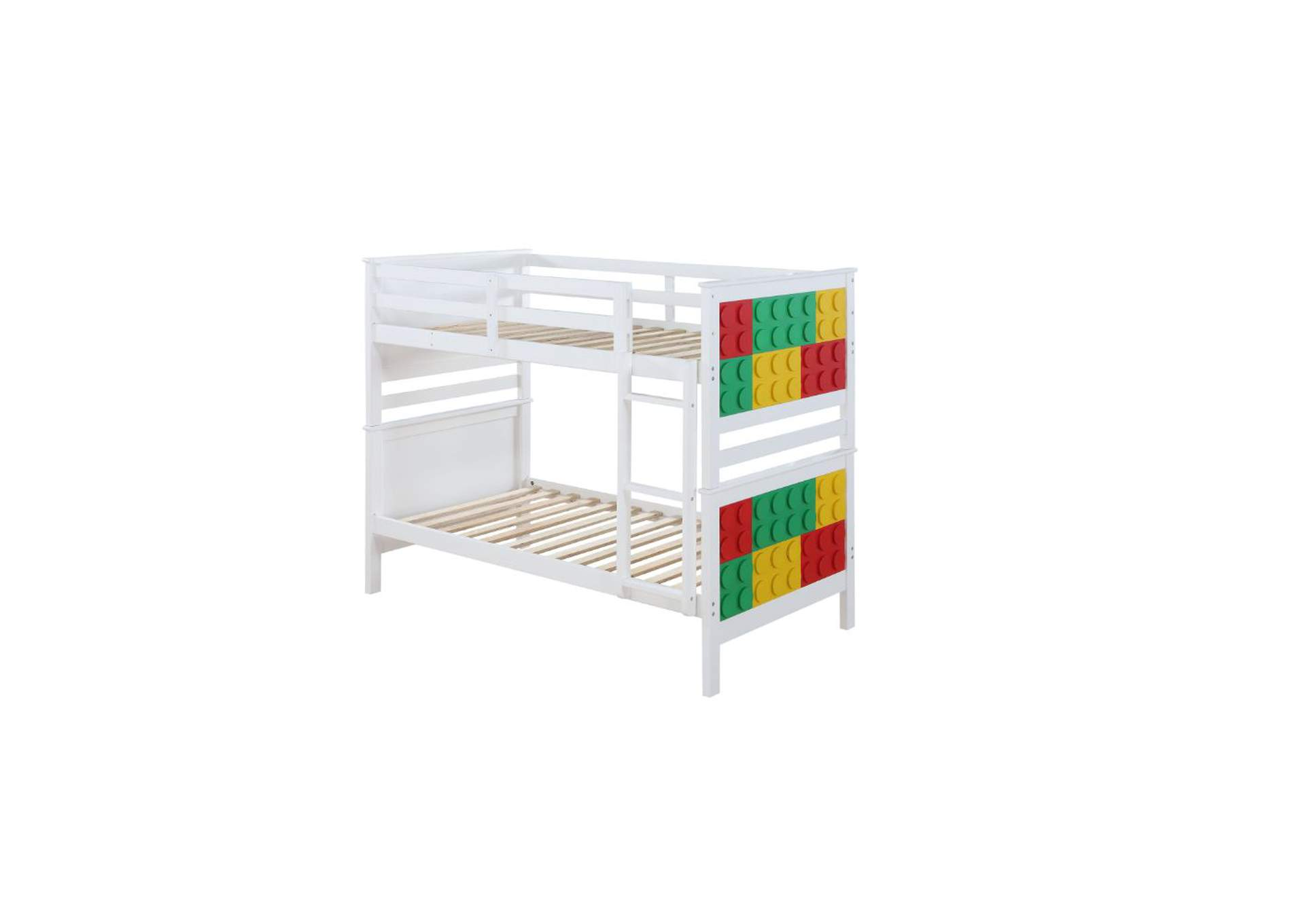 Playground White & Multi-Color Twin/Twin Bunk Bed,Acme