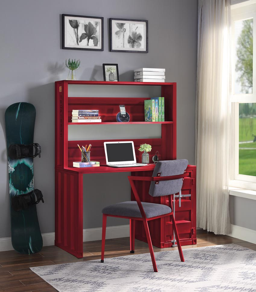 Cargo Red Desk and Hutch,Acme