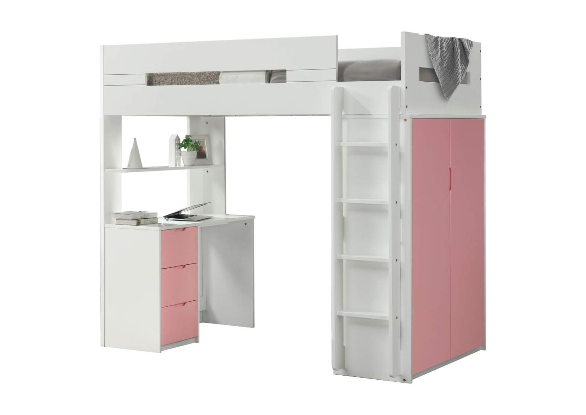 Nerice White & Pink Loft Bed,Acme