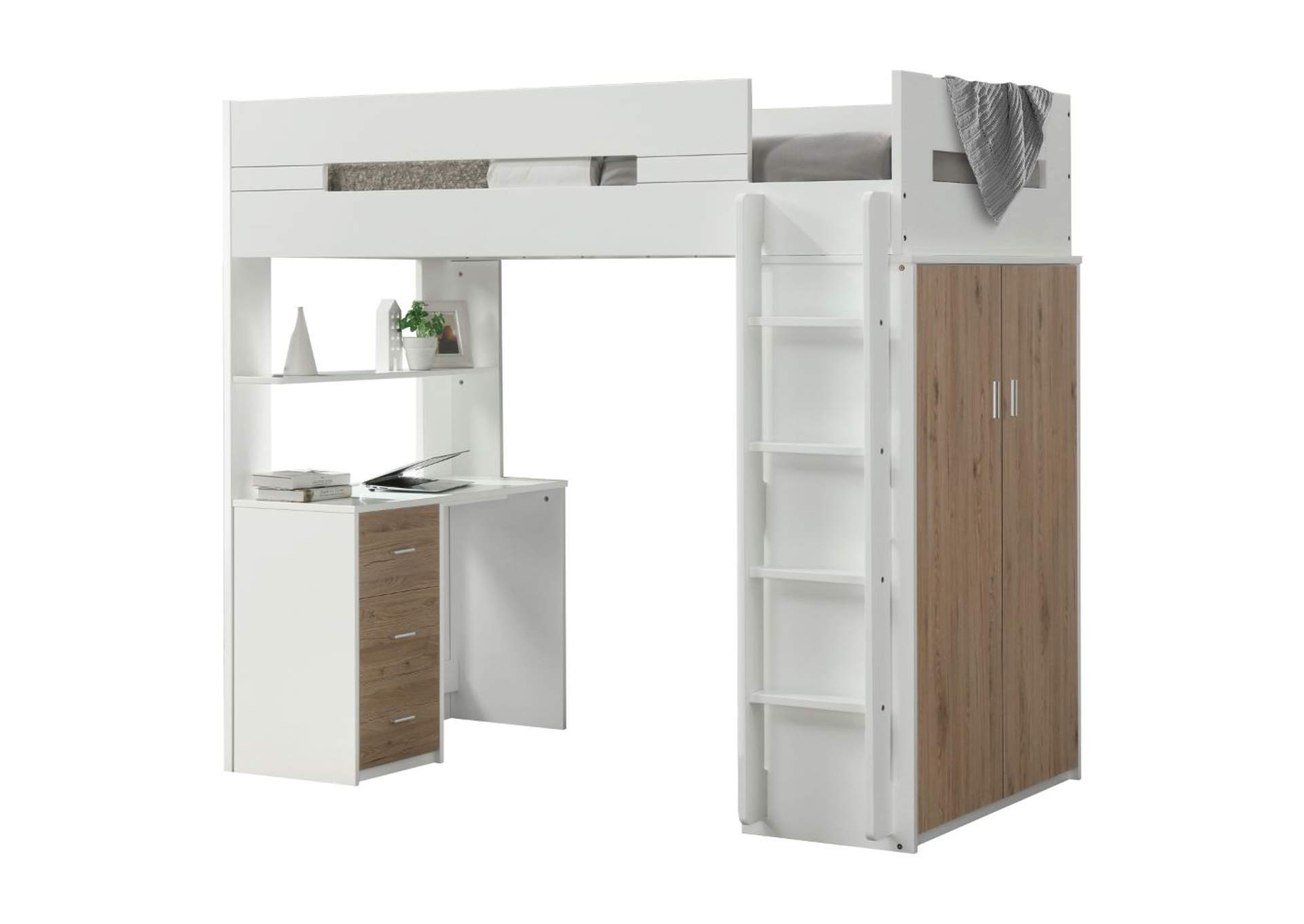 Nerice White/Oak Loft Bed,Acme