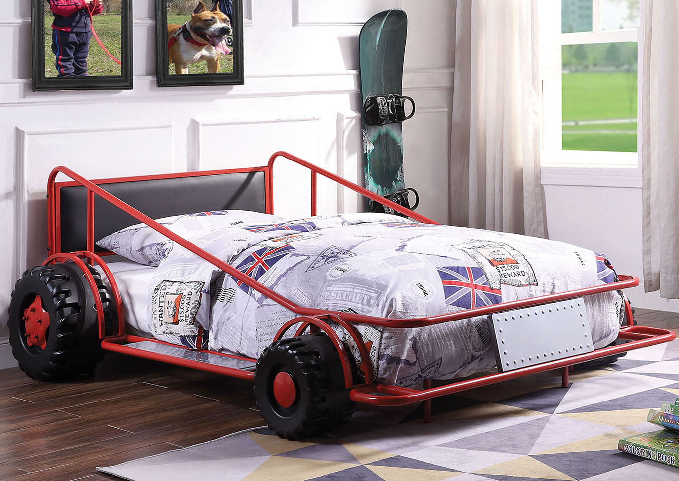 Taban Red/Silver & Black PU Twin Bed,Acme