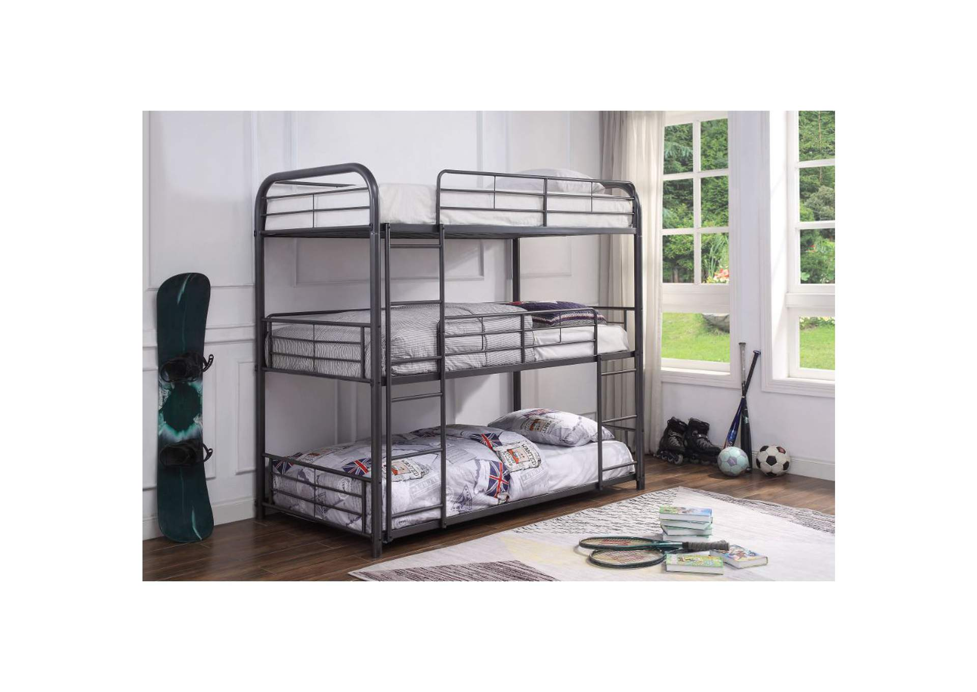 Cairo Gunmetal Triple Bunk Bed - Twin,Acme