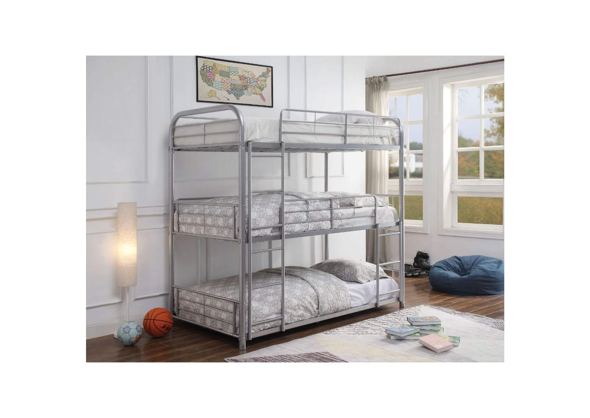 Cairo Silver Bunk Bed - Triple Twin,Acme