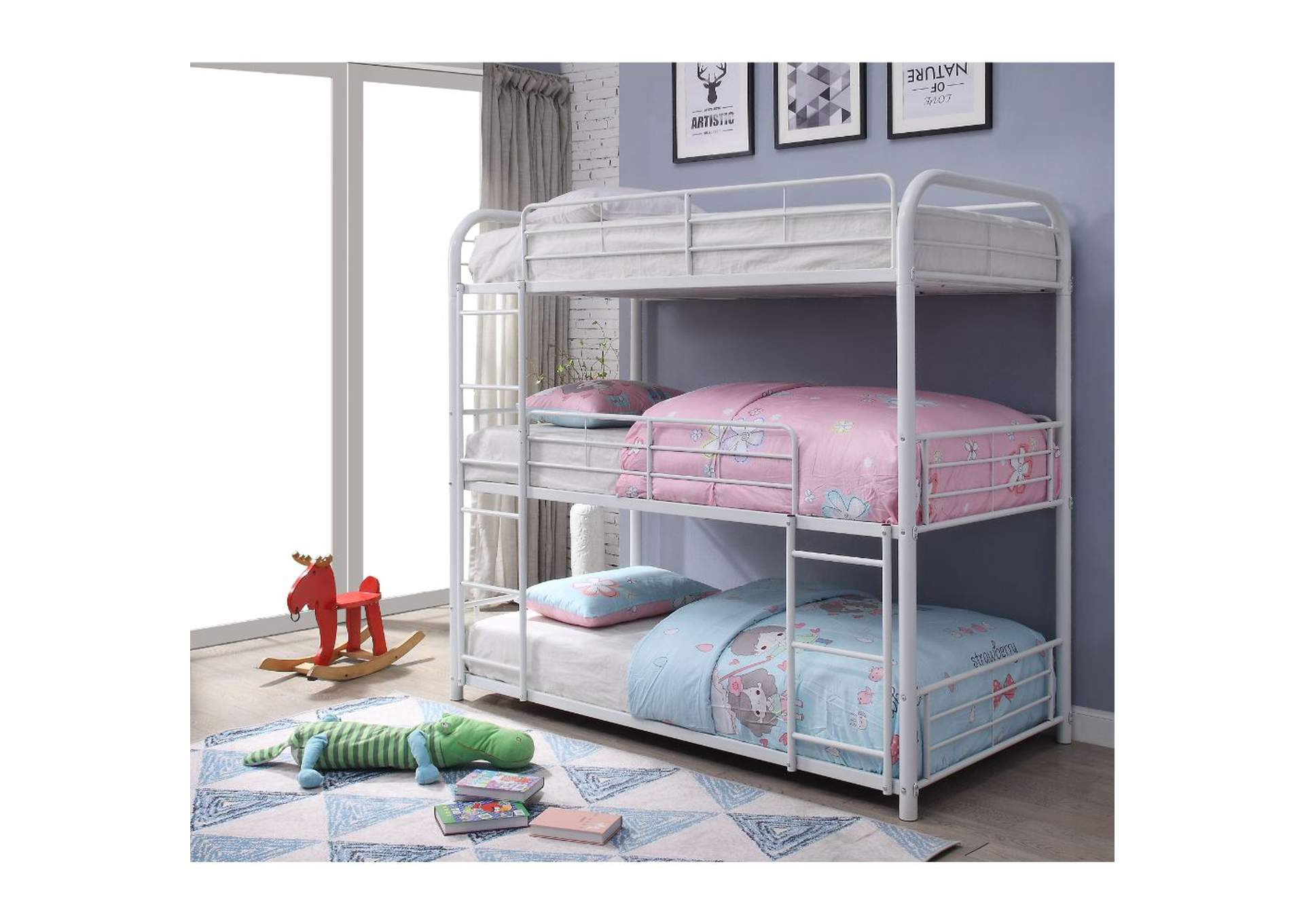Cairo White Triple Bunk Bed - Twin,Acme