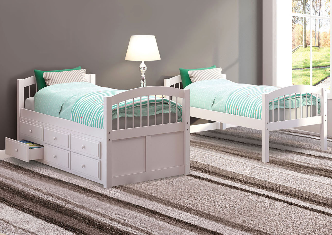 Micah White Twin/Twin Bunk Bed & Trundle,Acme