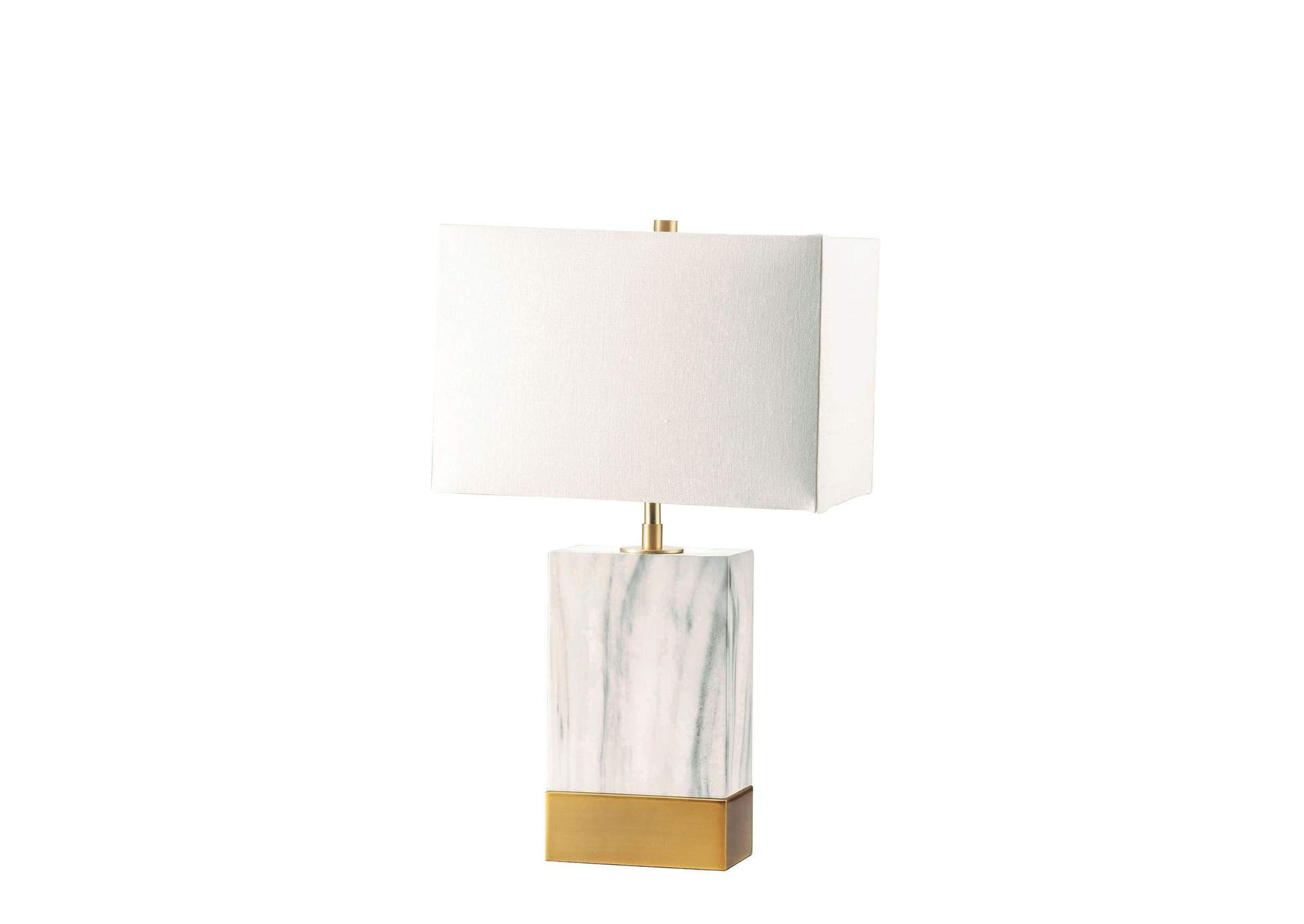 Libe White/Satin Gold Table Lamp,Acme
