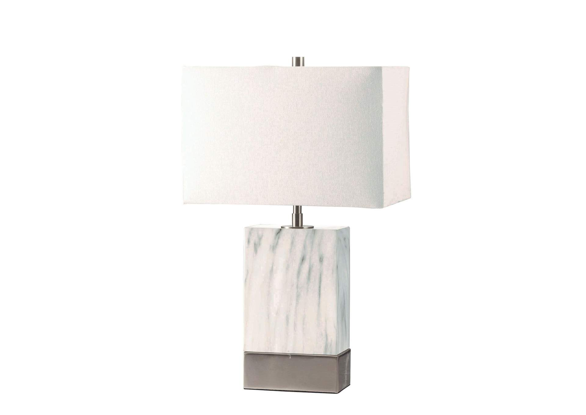 Libe White/Nickel Table Lamp,Acme