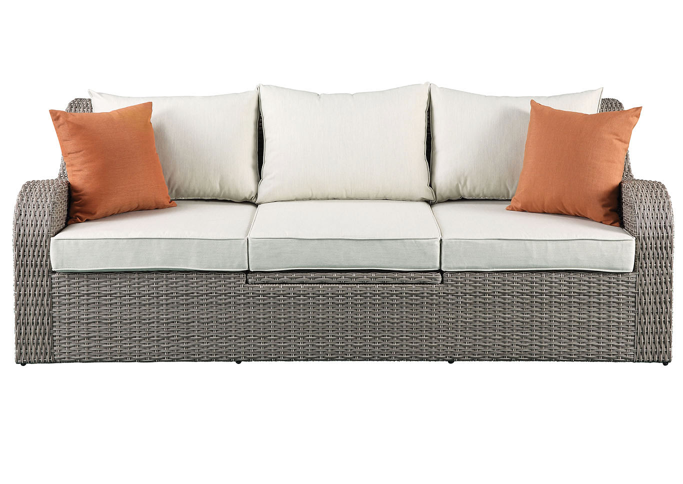 Salena Beige Fabric & Gray Wicker Patio Sofa & Ottoman,Acme