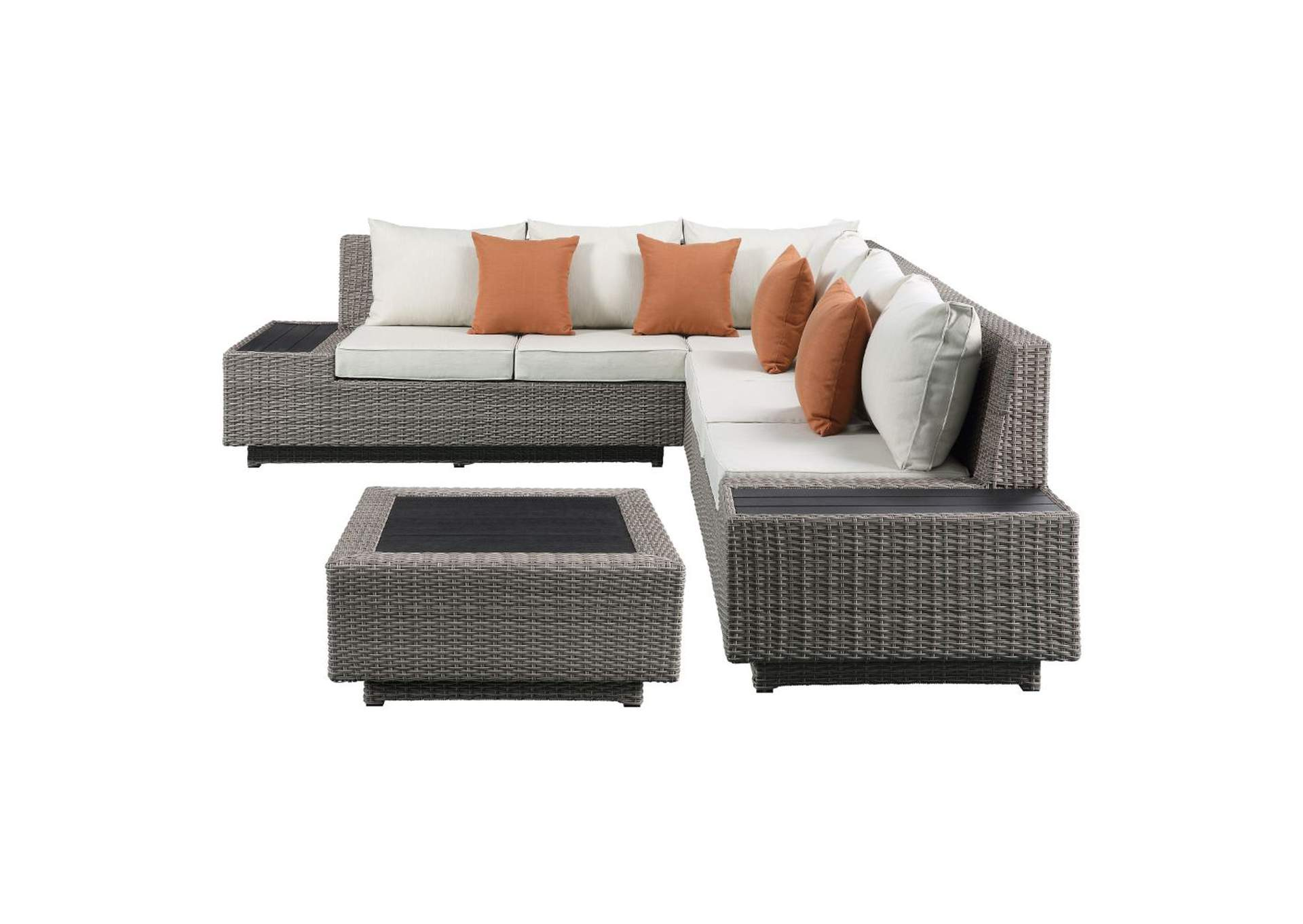 Salena Beige/Gray Patio Sectional & Cocktail Table,Acme