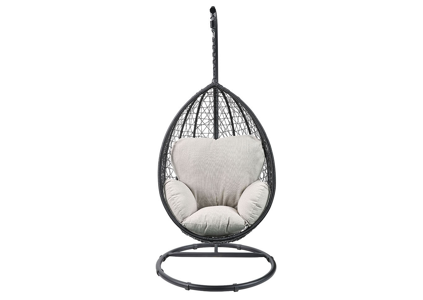 Simona Beige Fabric & Black Wicker Patio Swing Chair,Acme