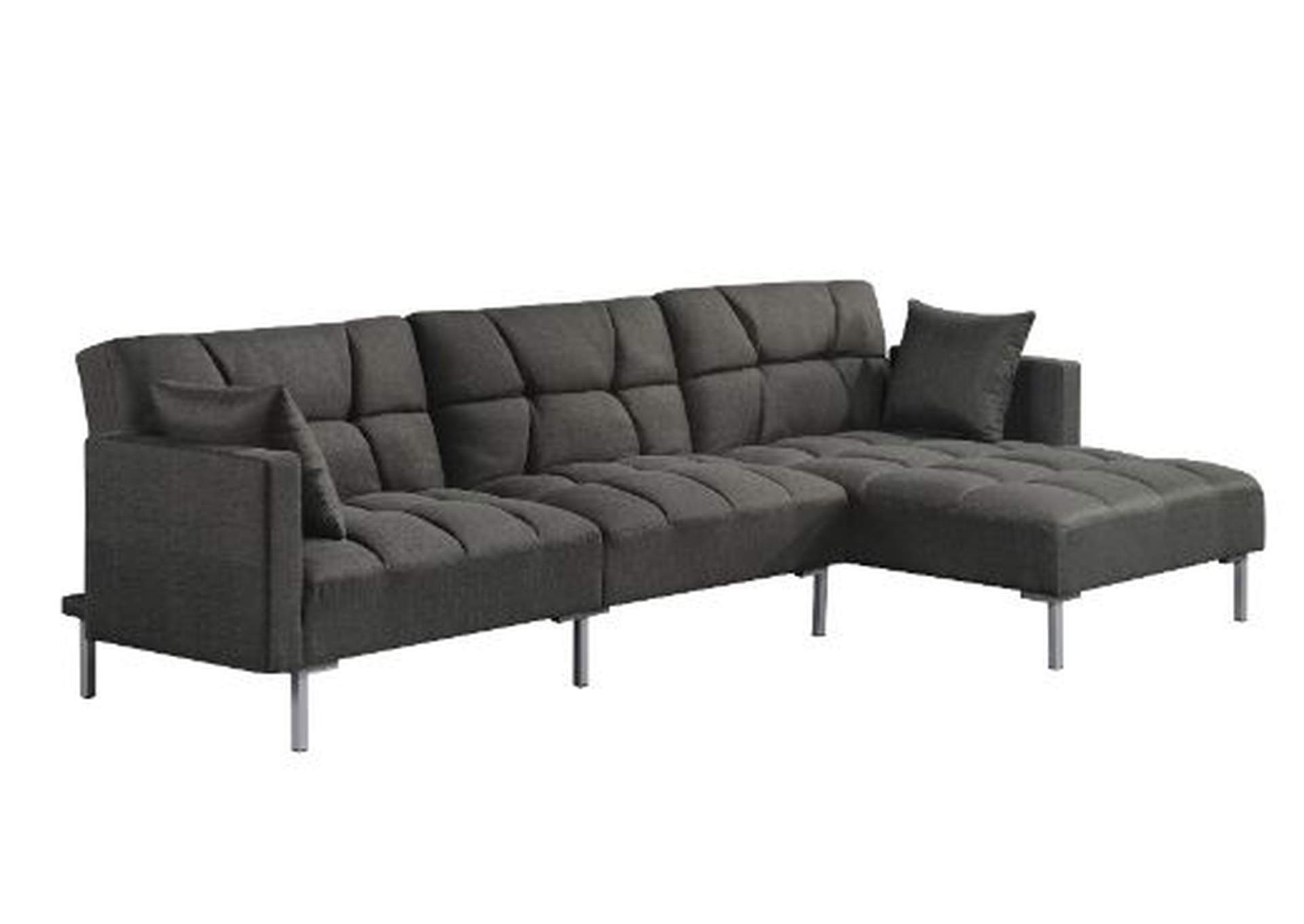 Duzzy Gray Reversible Adjustable Sectional Sofa W 2 Pillows Squan Furniture