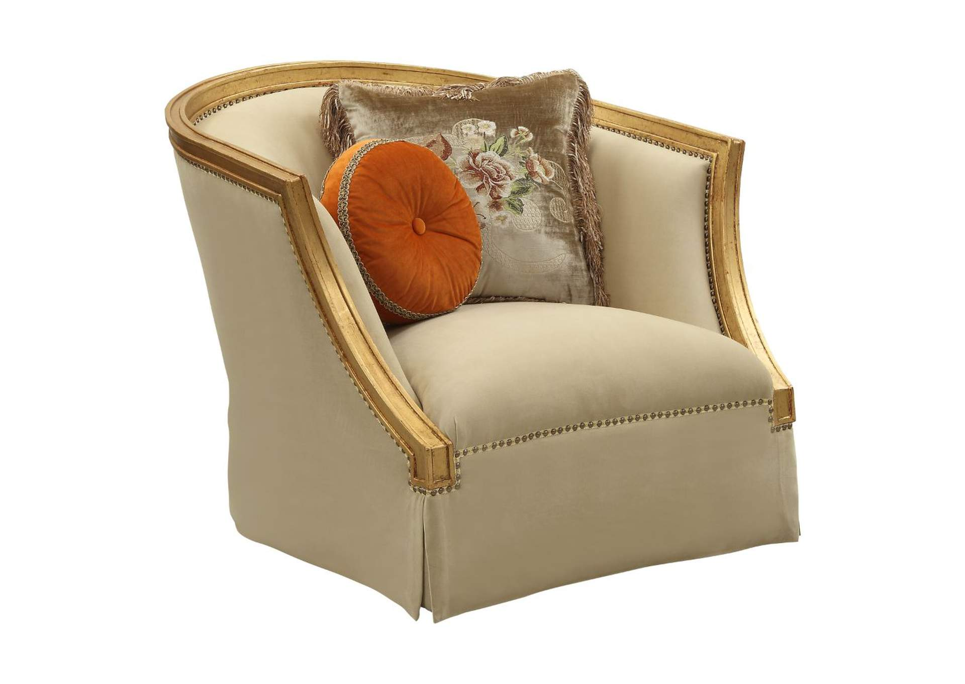 Daesha Tan Flannel & Antique Gold Chair,Acme