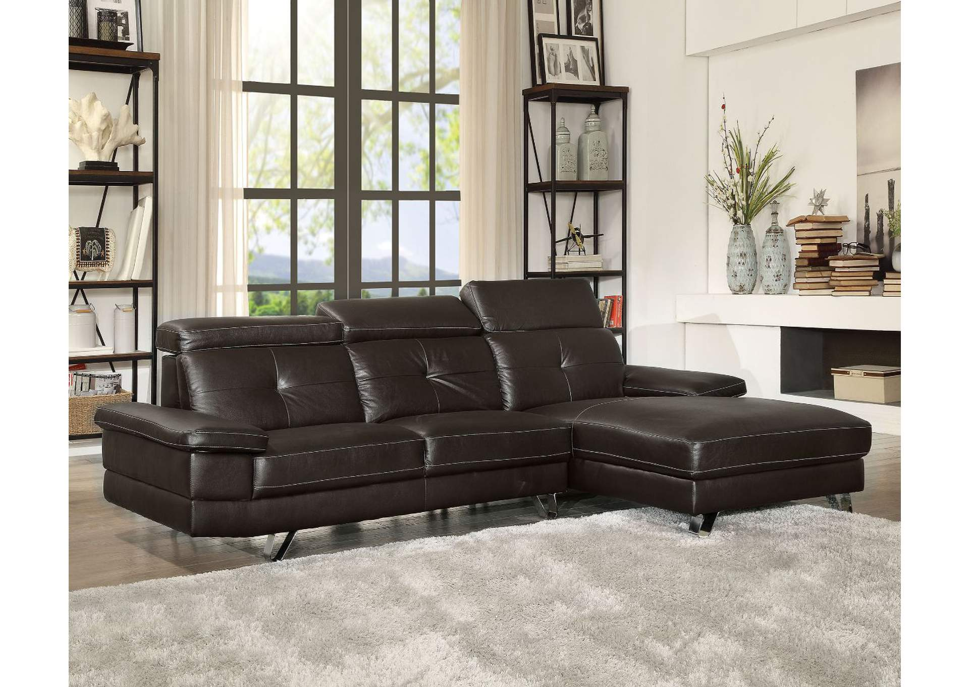 Aeryn Espresso PU Sectional Sofa,Acme
