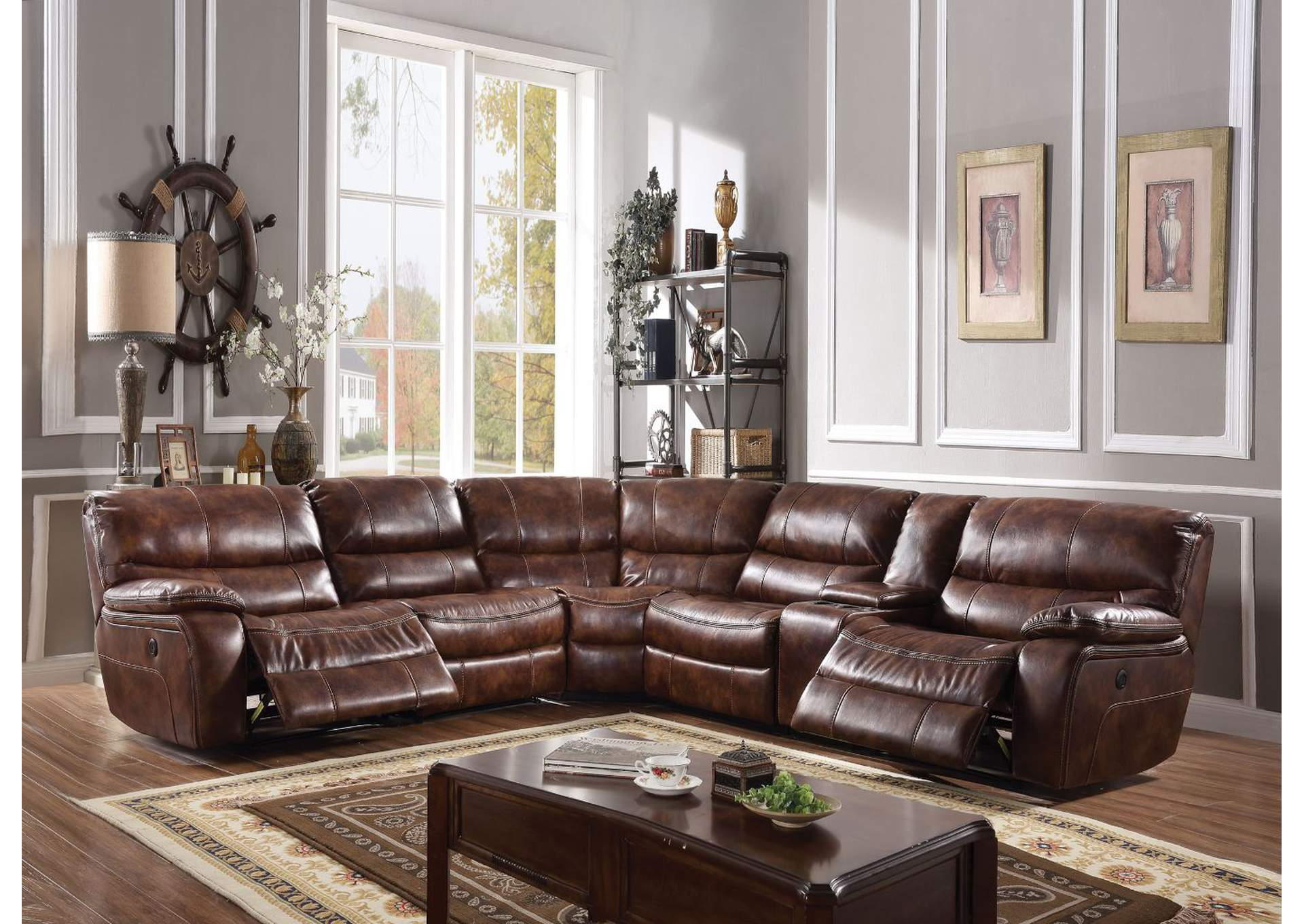 Brax 2-Tone Brown Leather-Gel Sectional Sofa,Acme