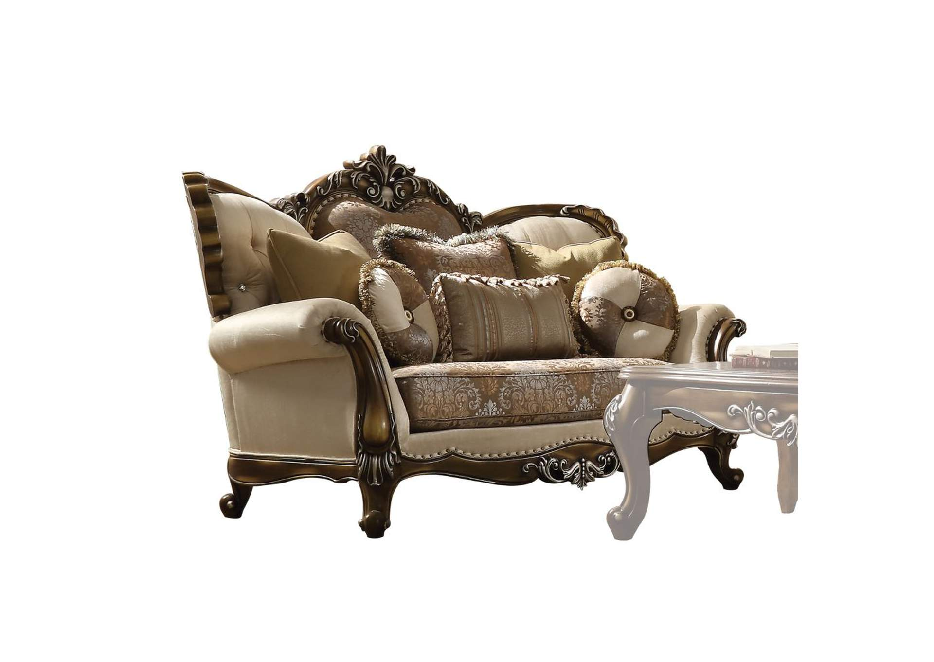 Latisha Tan, Pattern Fabric & Antique Oak Loveseat,Acme