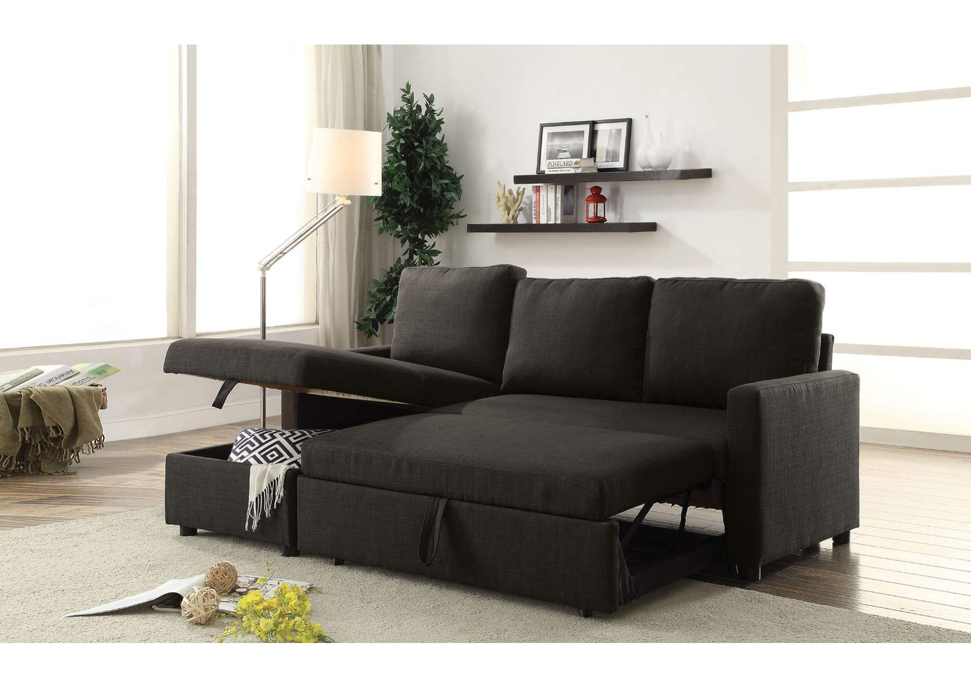Hiltons Charcoal Linen Sectional Sofa,Acme