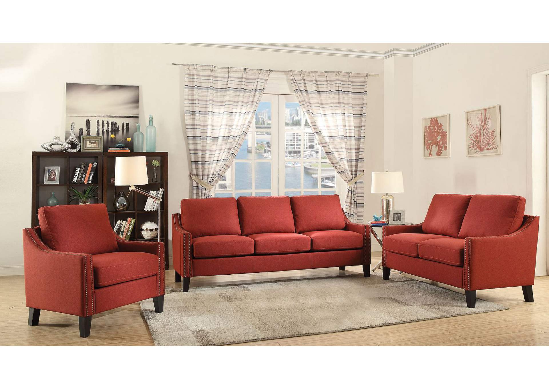 Zapata Red Linen Sofa,Acme