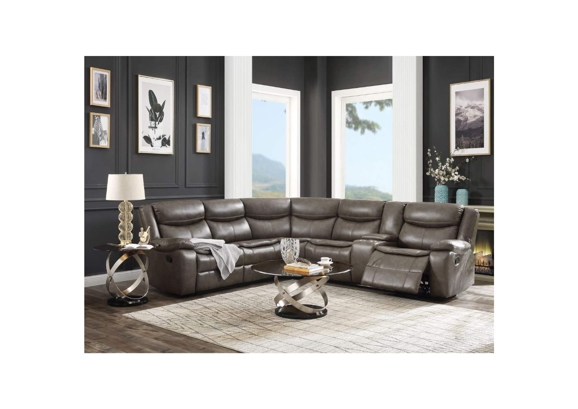 Tavin Taupe Leather-Aire Match Sectional Sofa,Acme