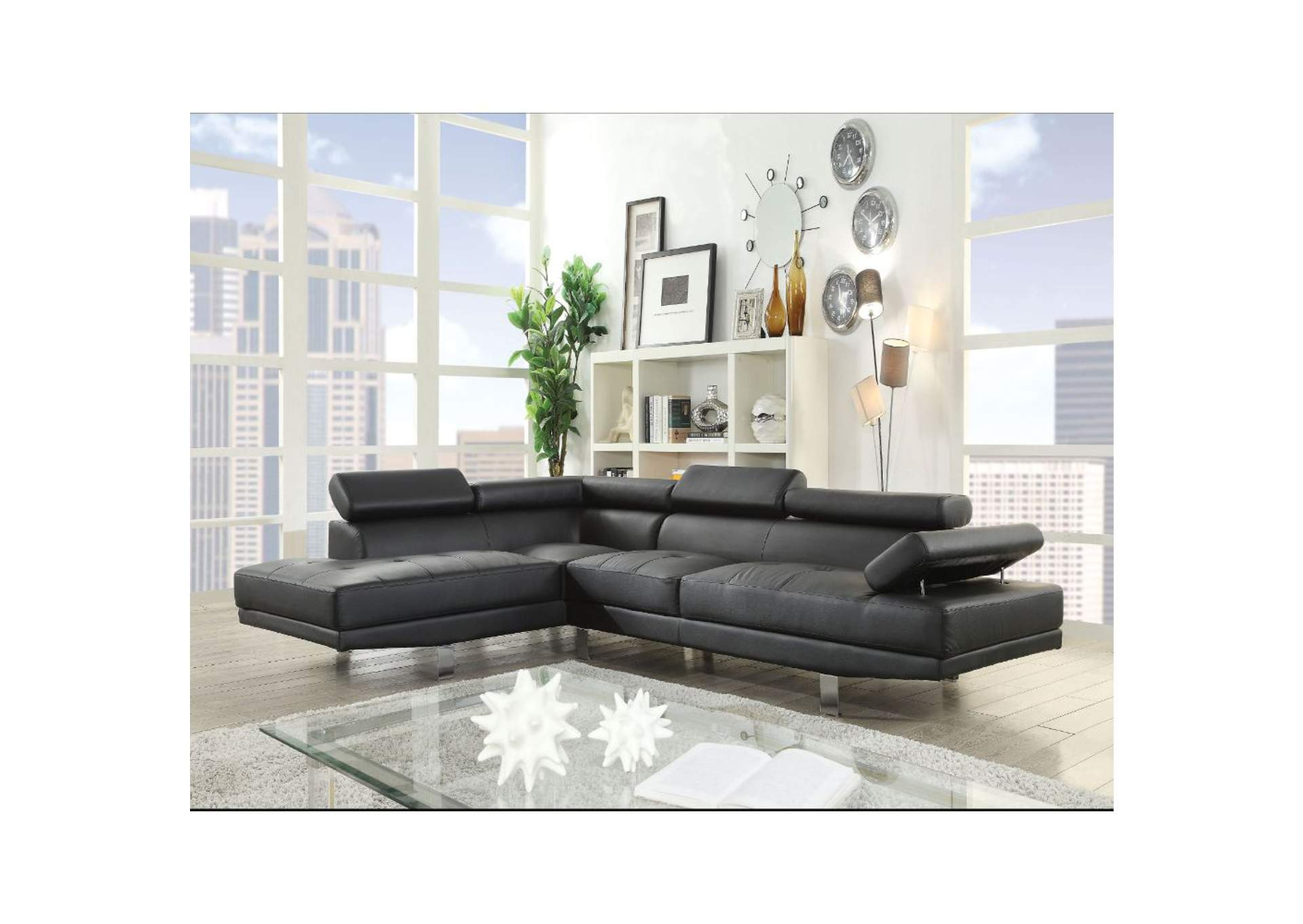 Connor Black PU Sectional Sofa,Acme