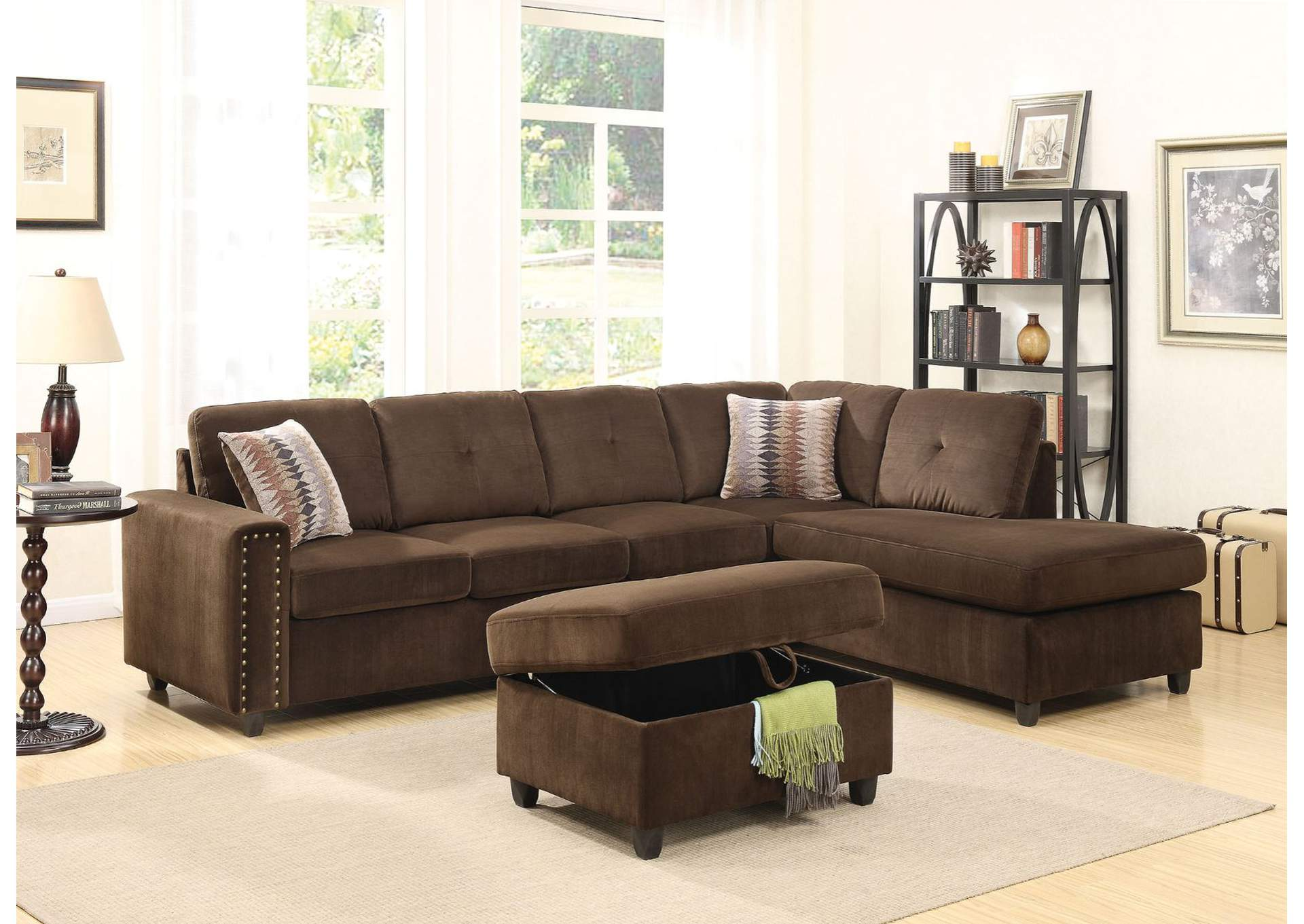 Belville Chocolate Velvet Sectional Sofa,Acme