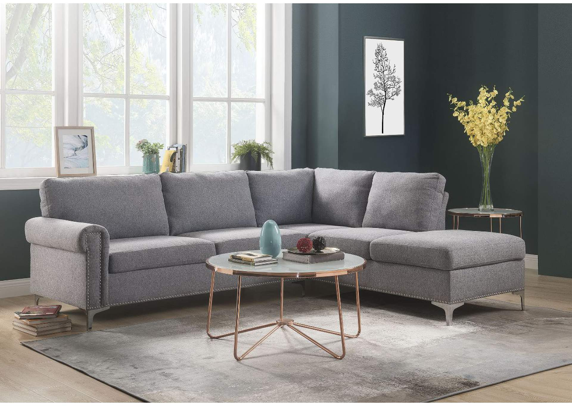 Melvyn Gray Fabric Sectional Sofa,Acme
