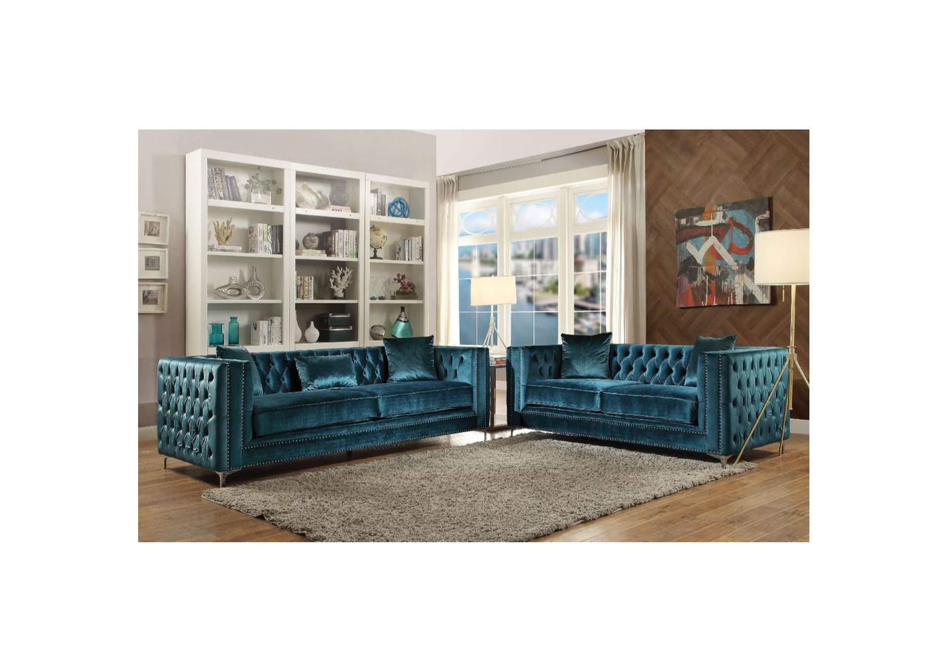 Gillian Teal Sofa and Loveseat w/Pillow,Acme