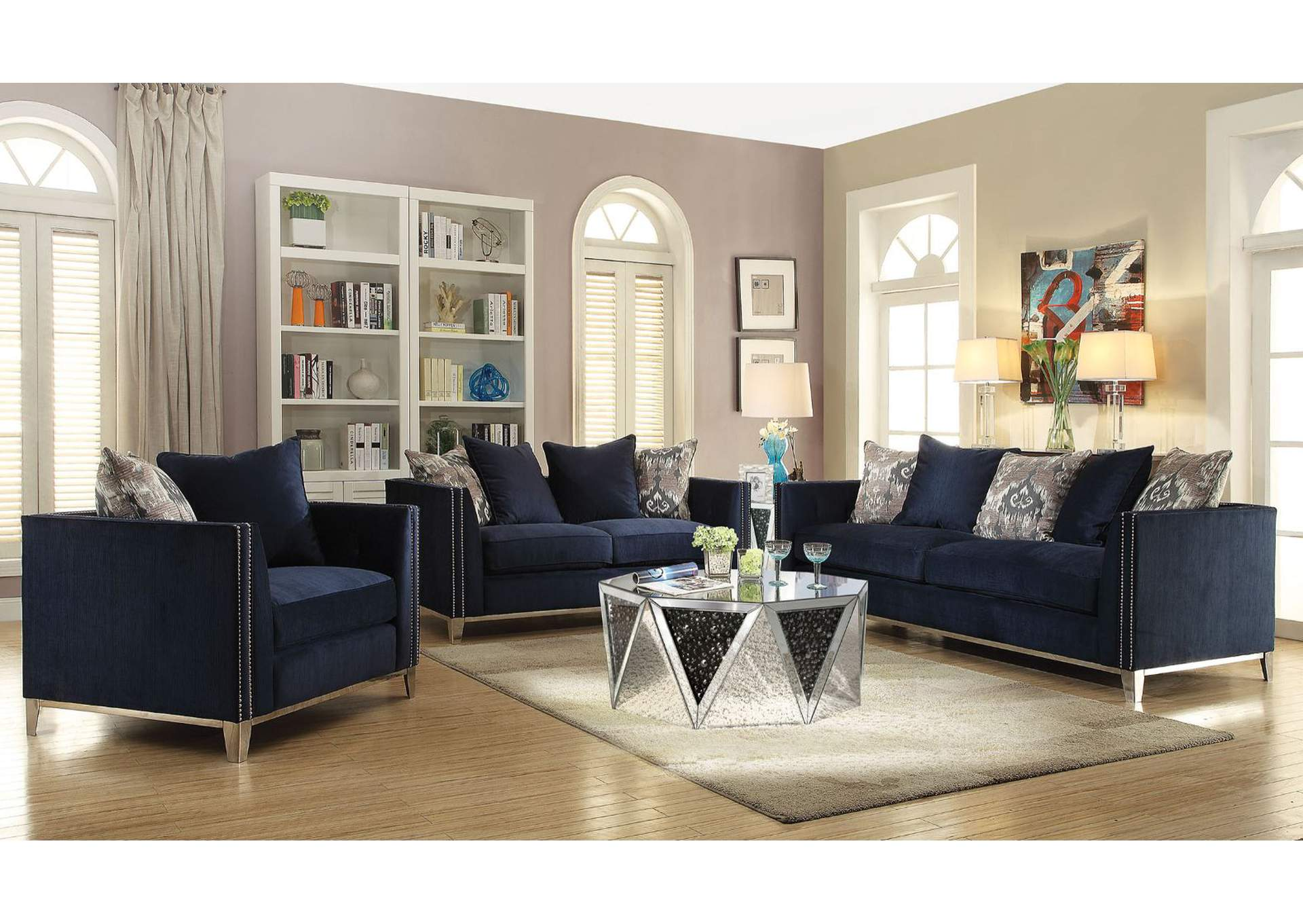 Phaedra Blue Fabric Sofa,Acme