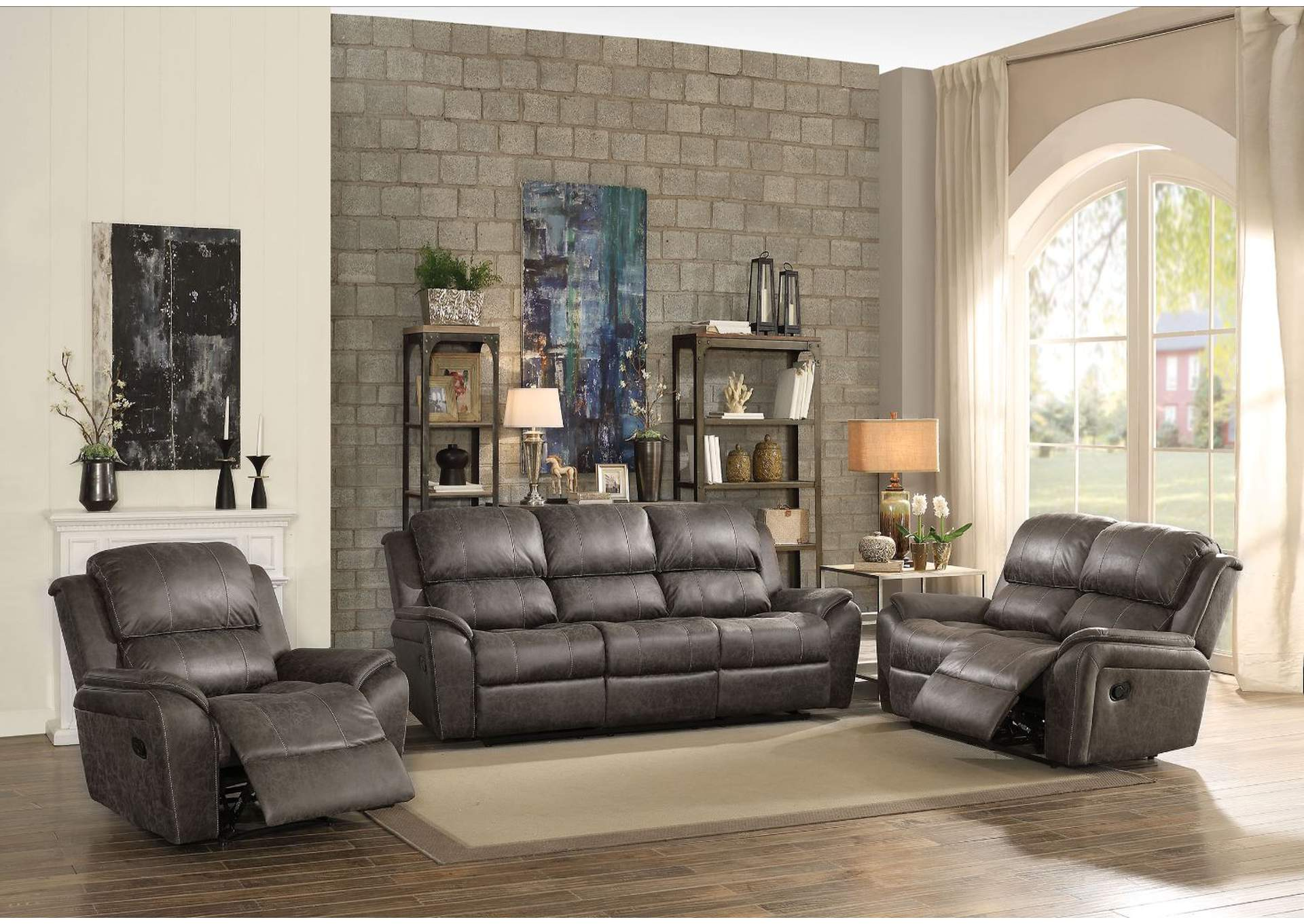 Barnaby Gray Polished Microfiber Sofa,Acme