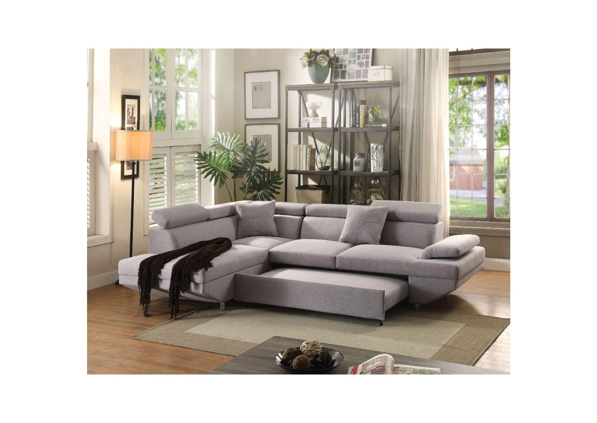 Jemima Gray Fabric Sectional Sofa,Acme