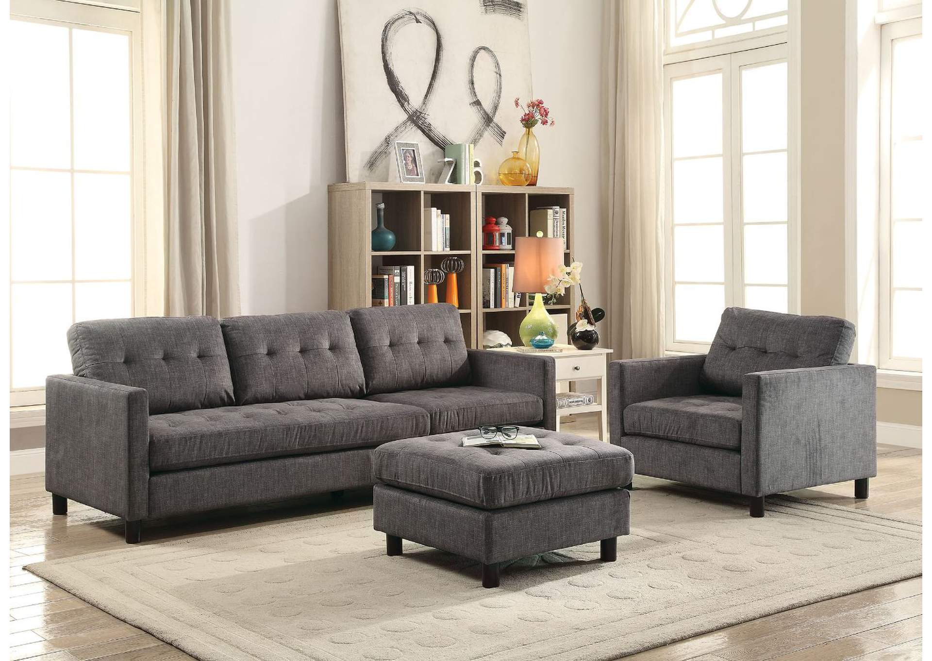 Ceasar Gray Fabric Sectional Sofa,Acme