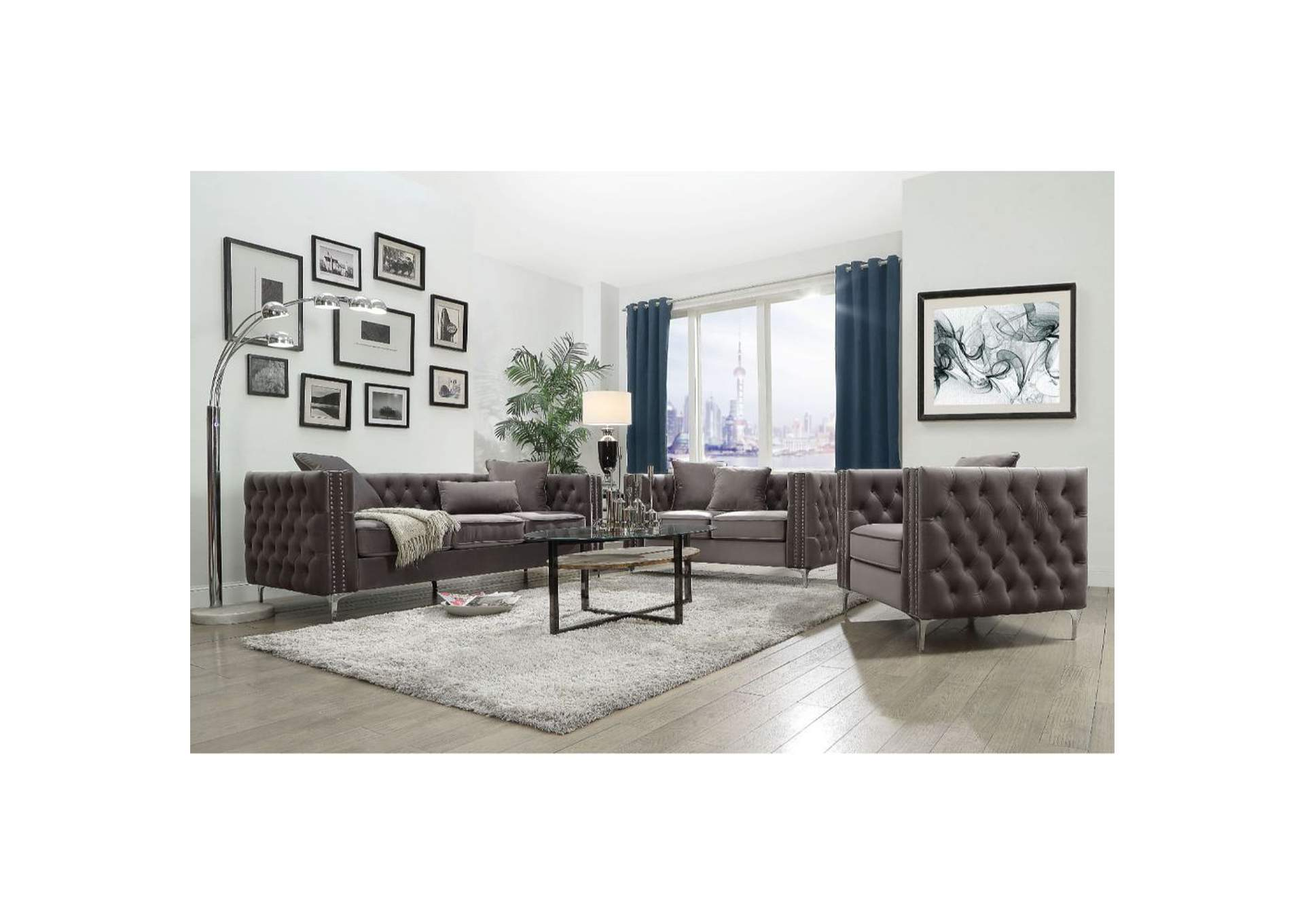Gillian II Dark Gray Velvet Sofa,Acme