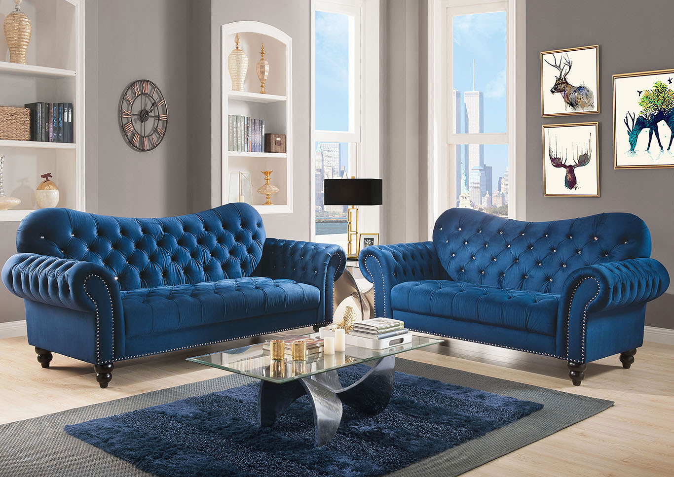 Iberis Navy Blue Sofa And Loveseat Best Buy Furniture And Mattress