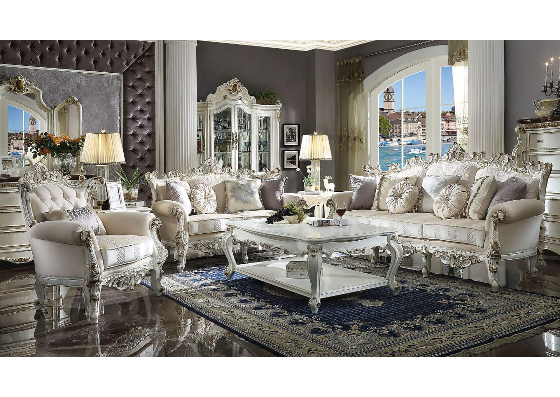 Picardy II Fabric & Antique Pearl Sofa,Acme