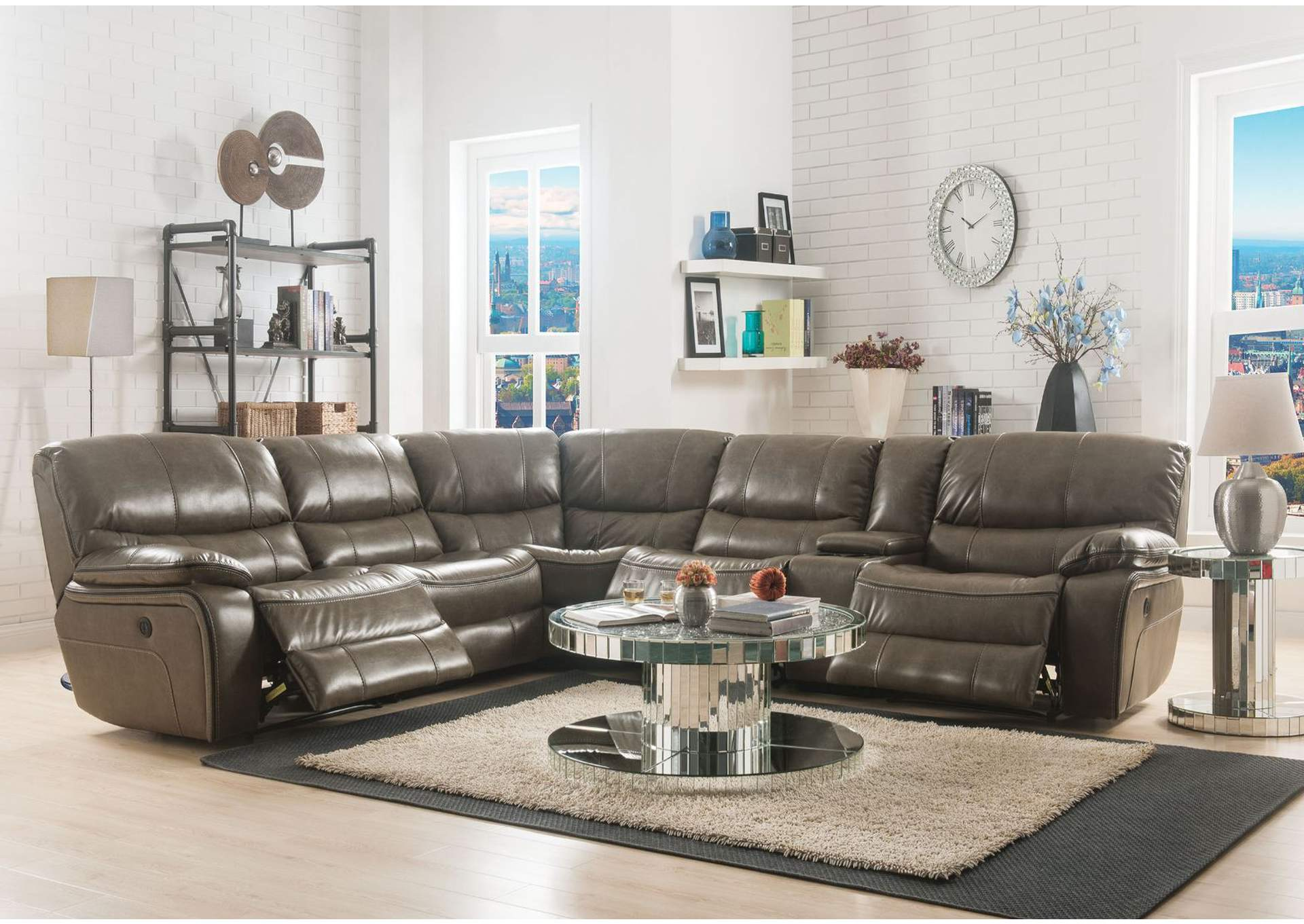 Brax Taupe Leather-Gel Sectional Sofa,Acme
