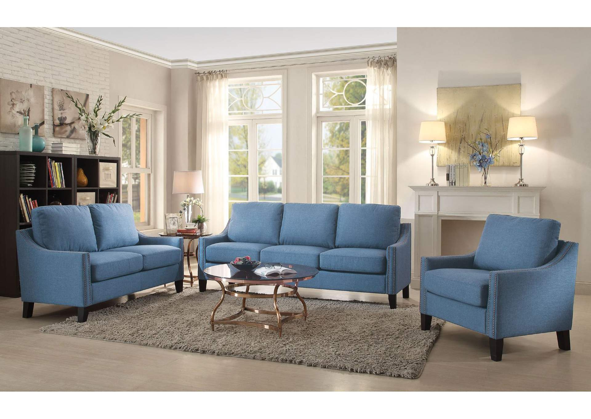 Zapata Blue Linen Sofa,Acme