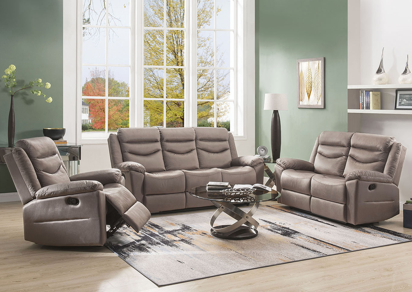 Fiacre Beige Reclining Sofa and Loveseat,Acme