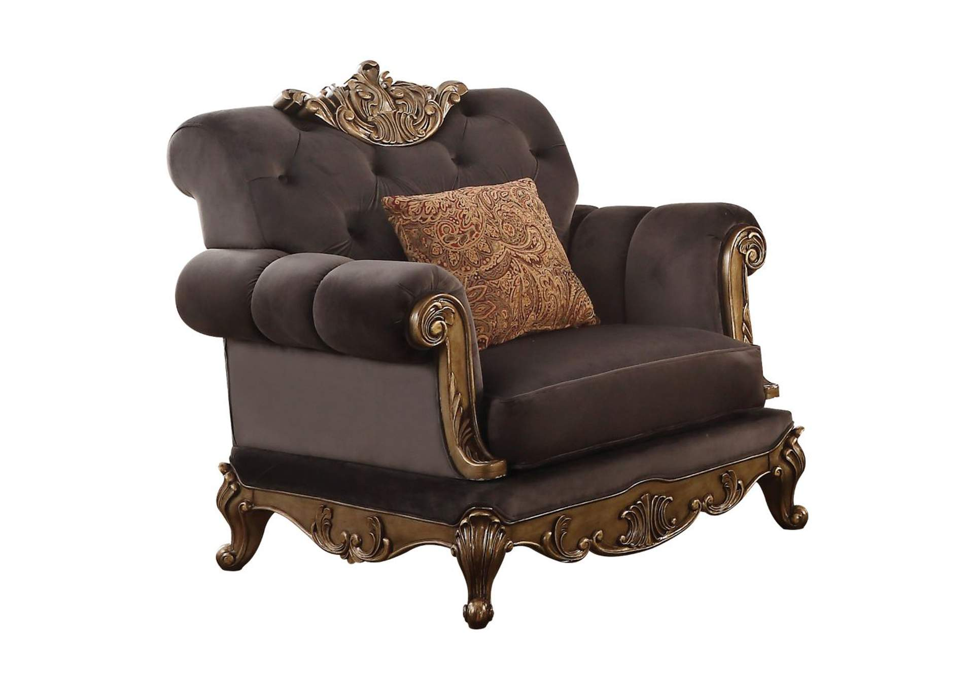 Orianne Charcoal Fabric & Antique Gold Chair,Acme