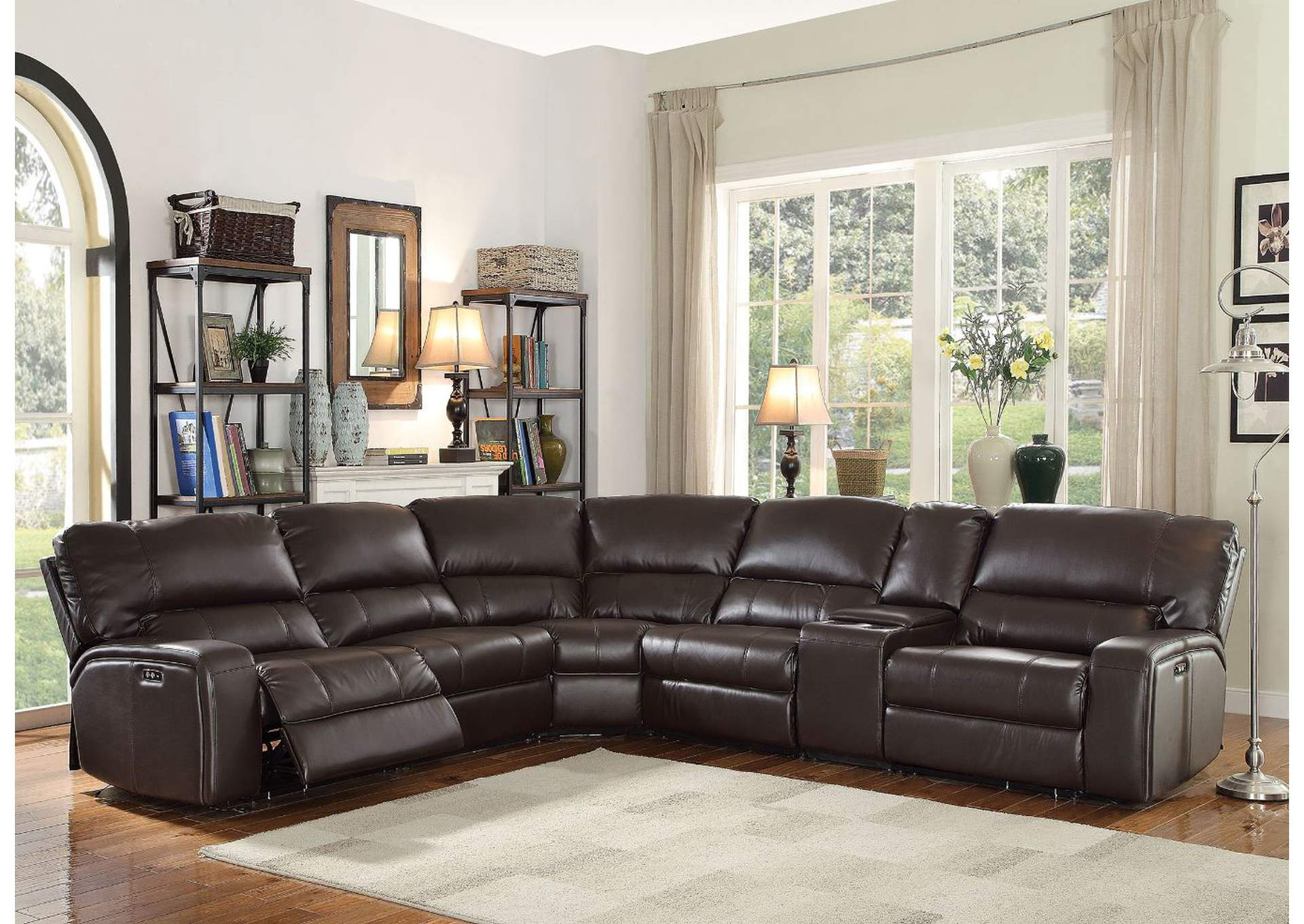 Saul Espresso Leather-Aire Sectional Sofa,Acme