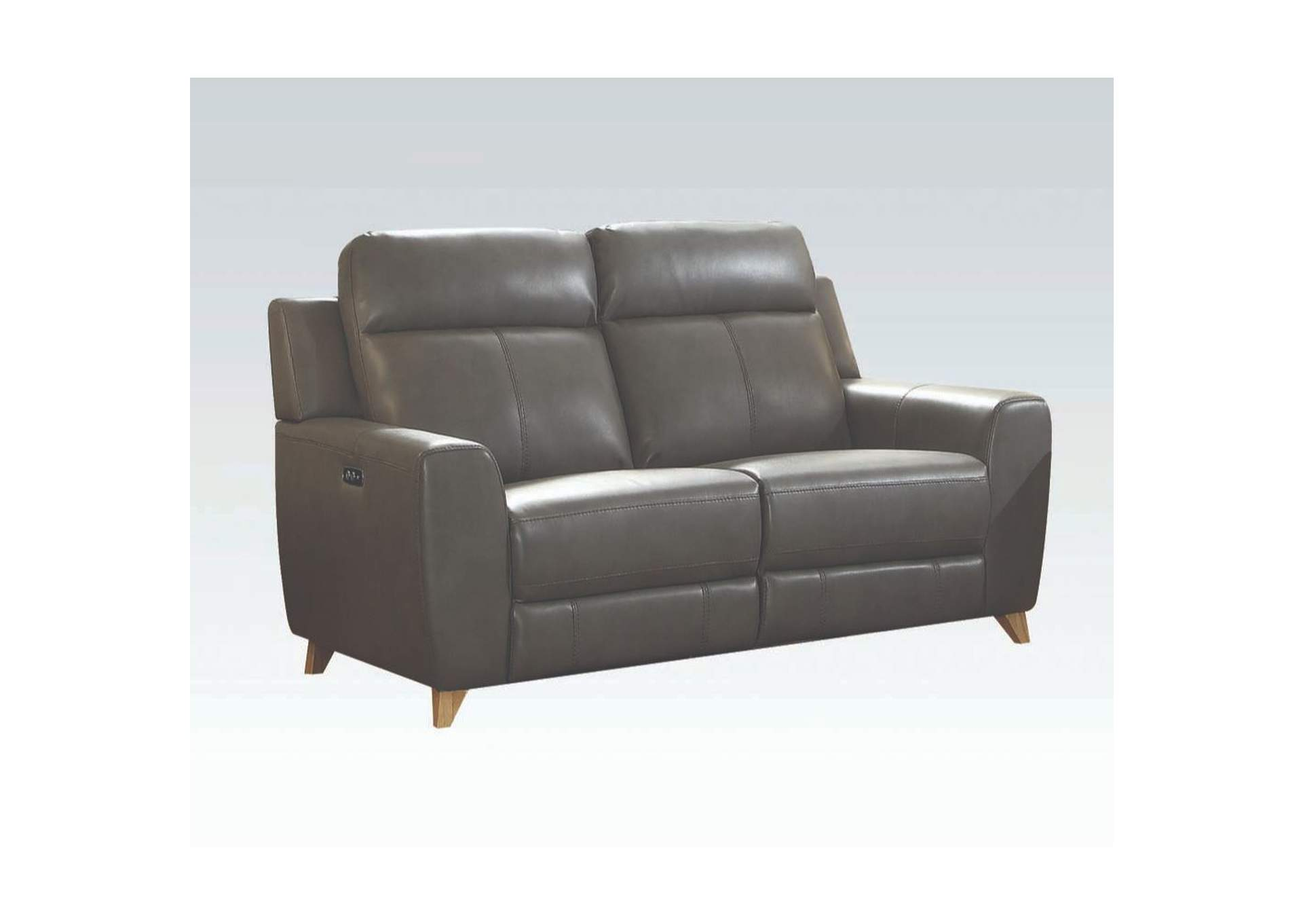 Cayden Gray Leather-Aire Match Loveseat,Acme