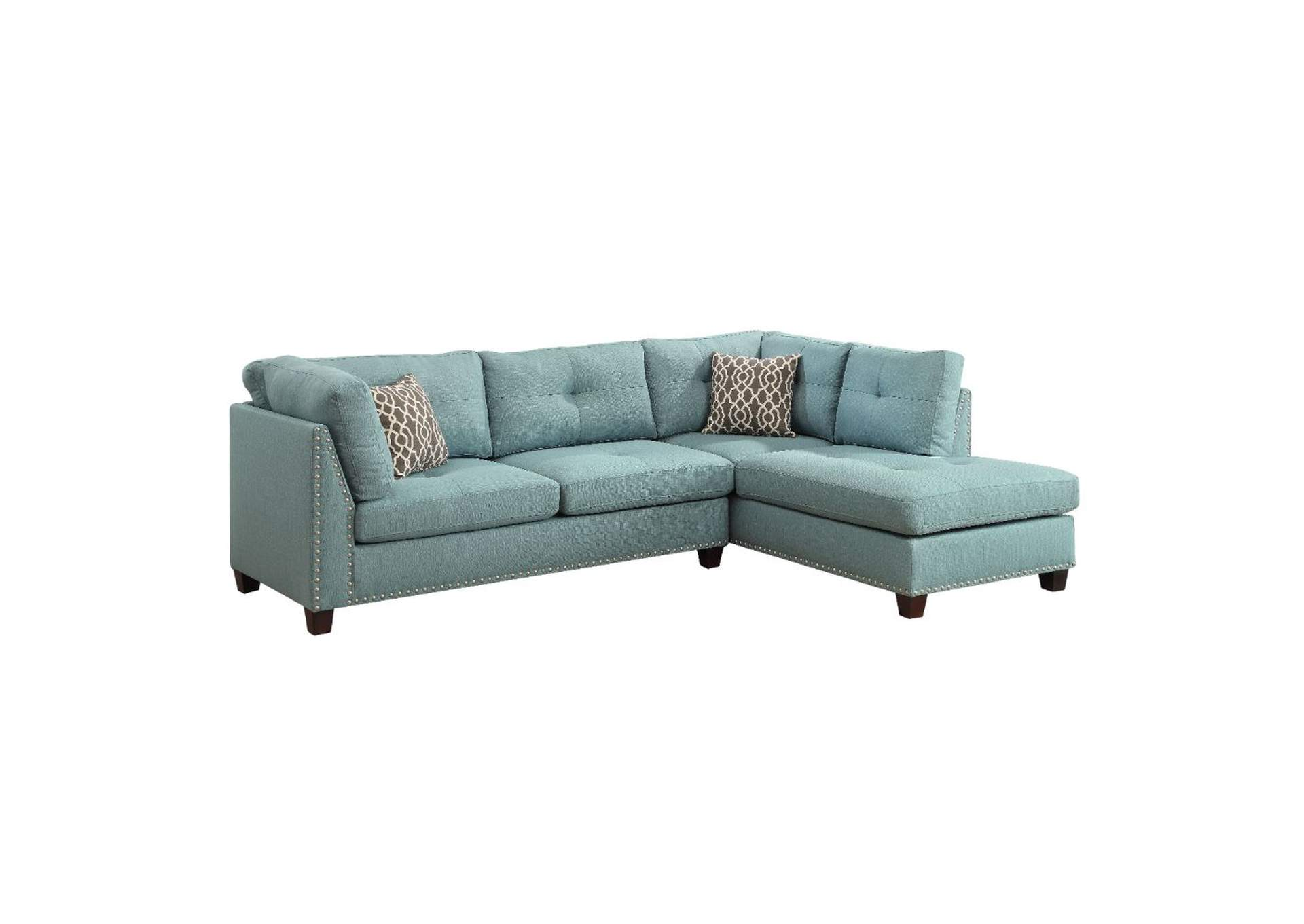 Laurissa Light Teal Linen Sectional Sofa,Acme