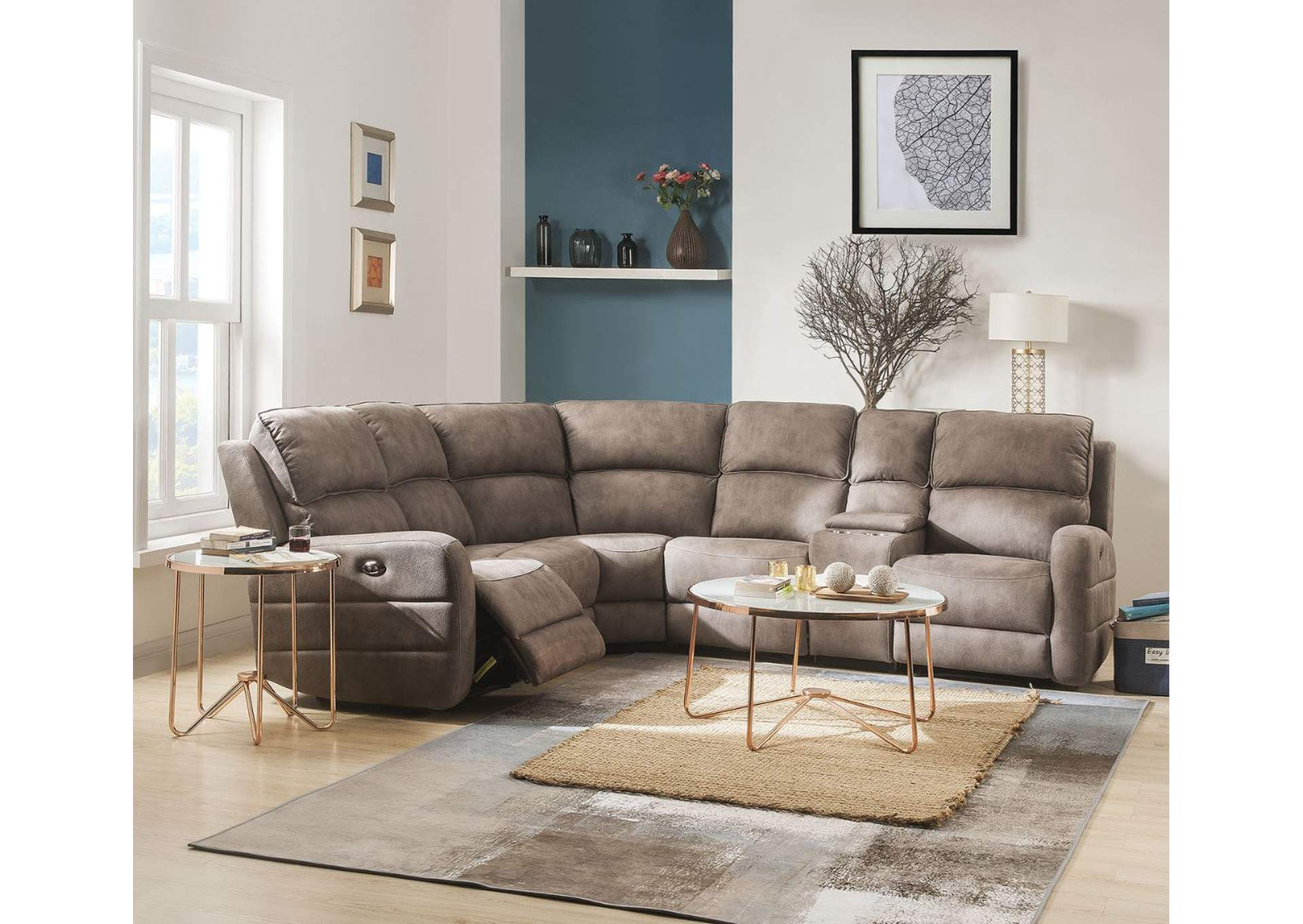 Olwen Mocha Nubuck Sectional Sofa,Acme